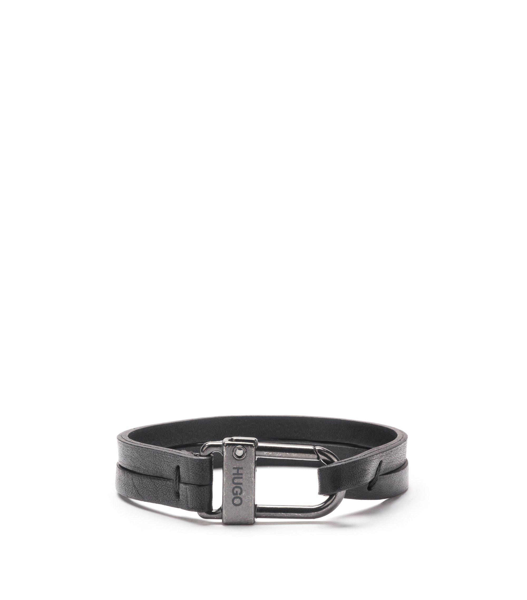 Armband aus italienischem Leder mit Karabinerverschluss, Schwarz