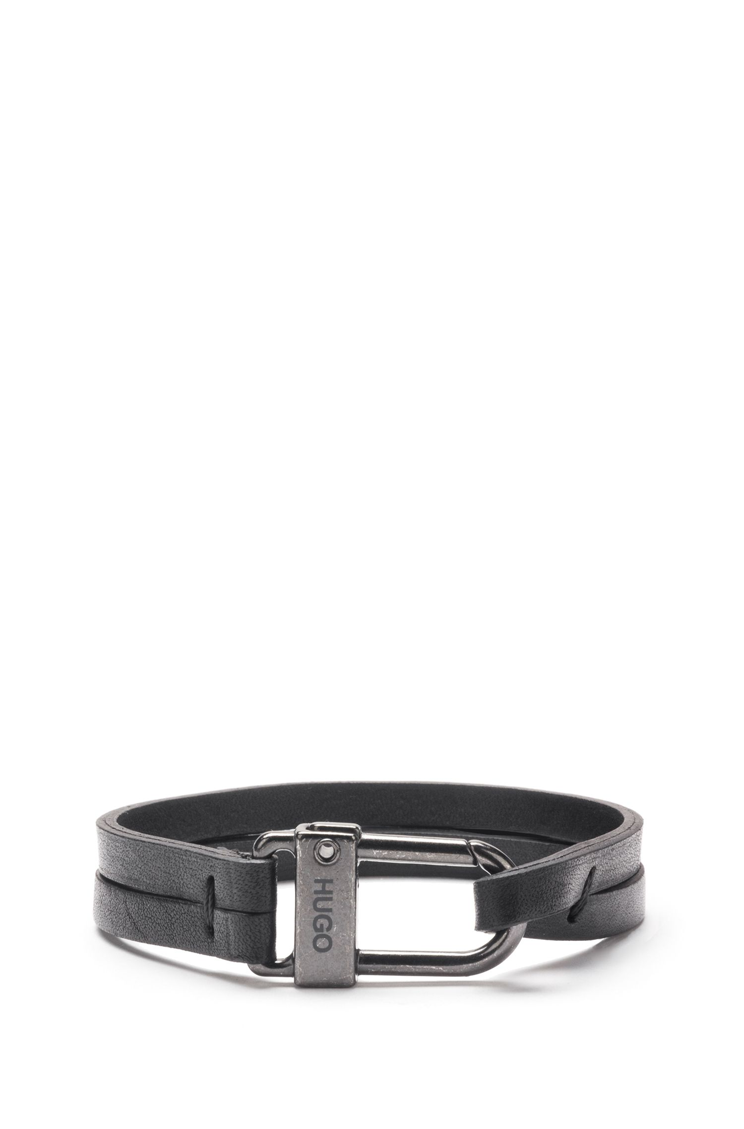 Italian-leather bracelet with carabiner closure