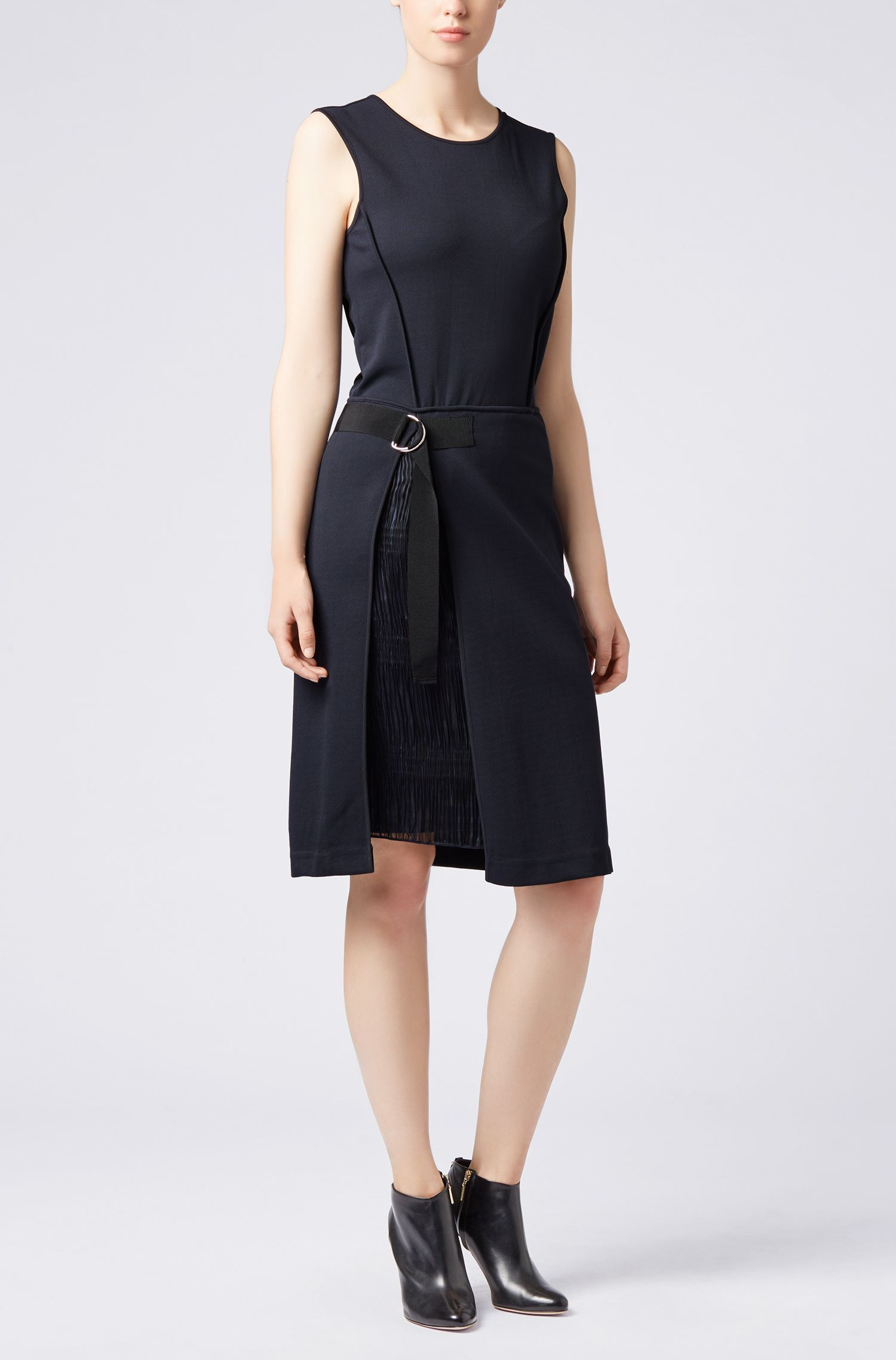 Jersey dress in stretch twill with plissé insert, Dark Blue