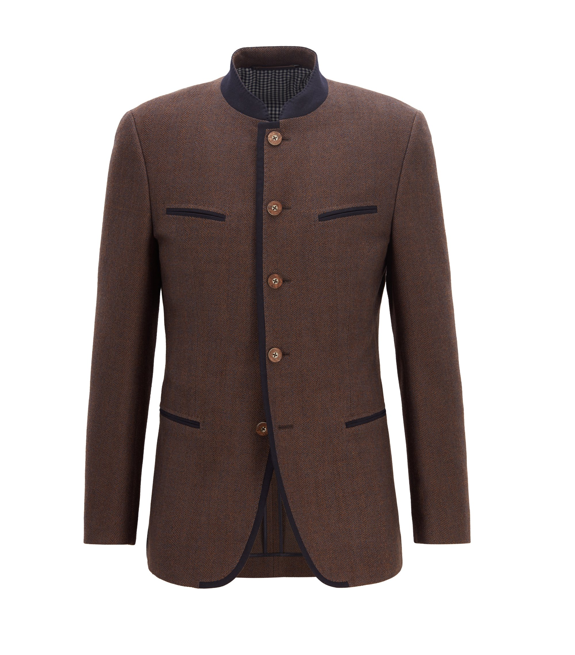 Oktoberfest-style blazer in a virgin-wool blend, Dark Brown