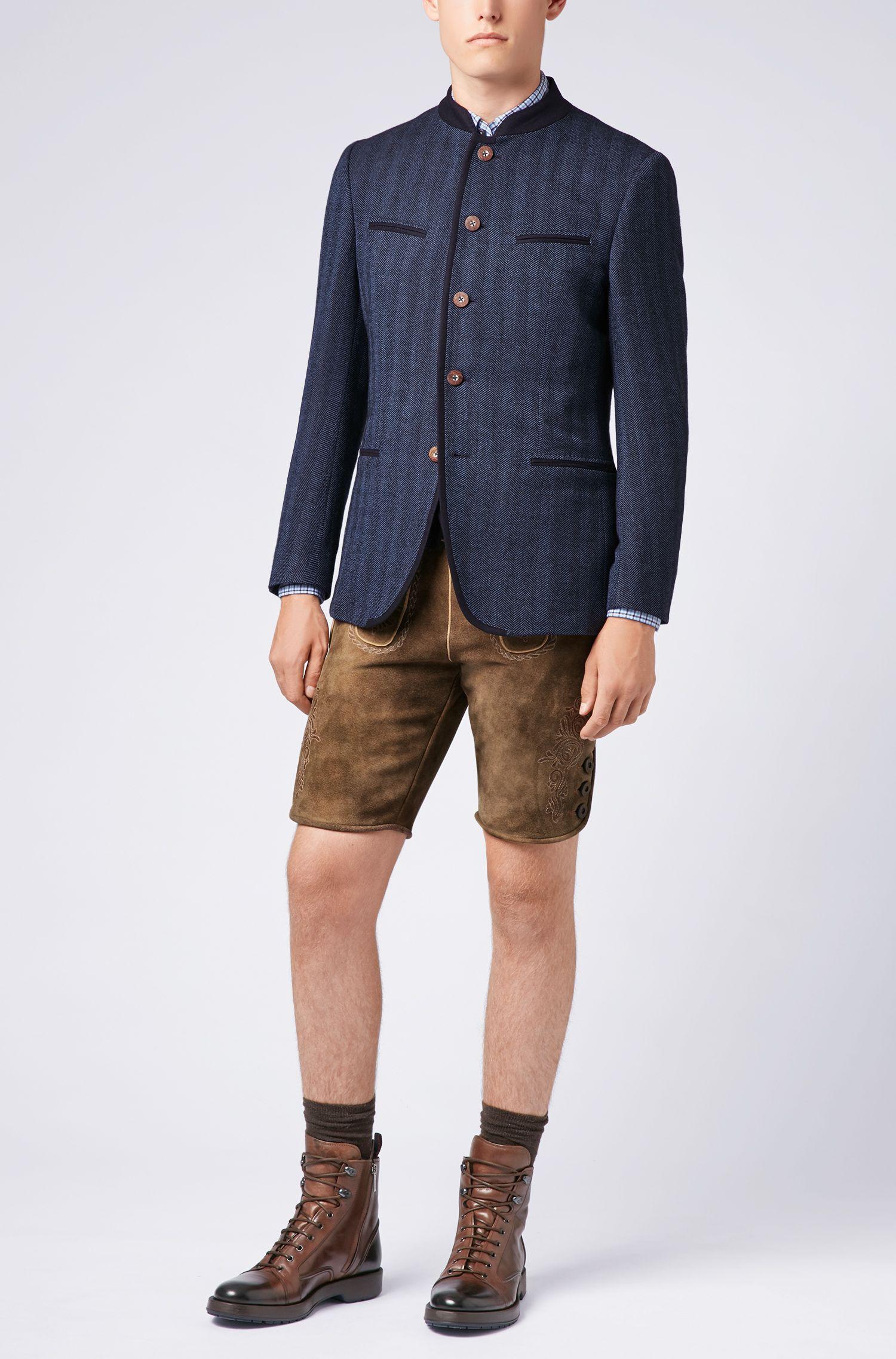 Blazer estilo bávaro en mezcla de lana virgen, Azul
