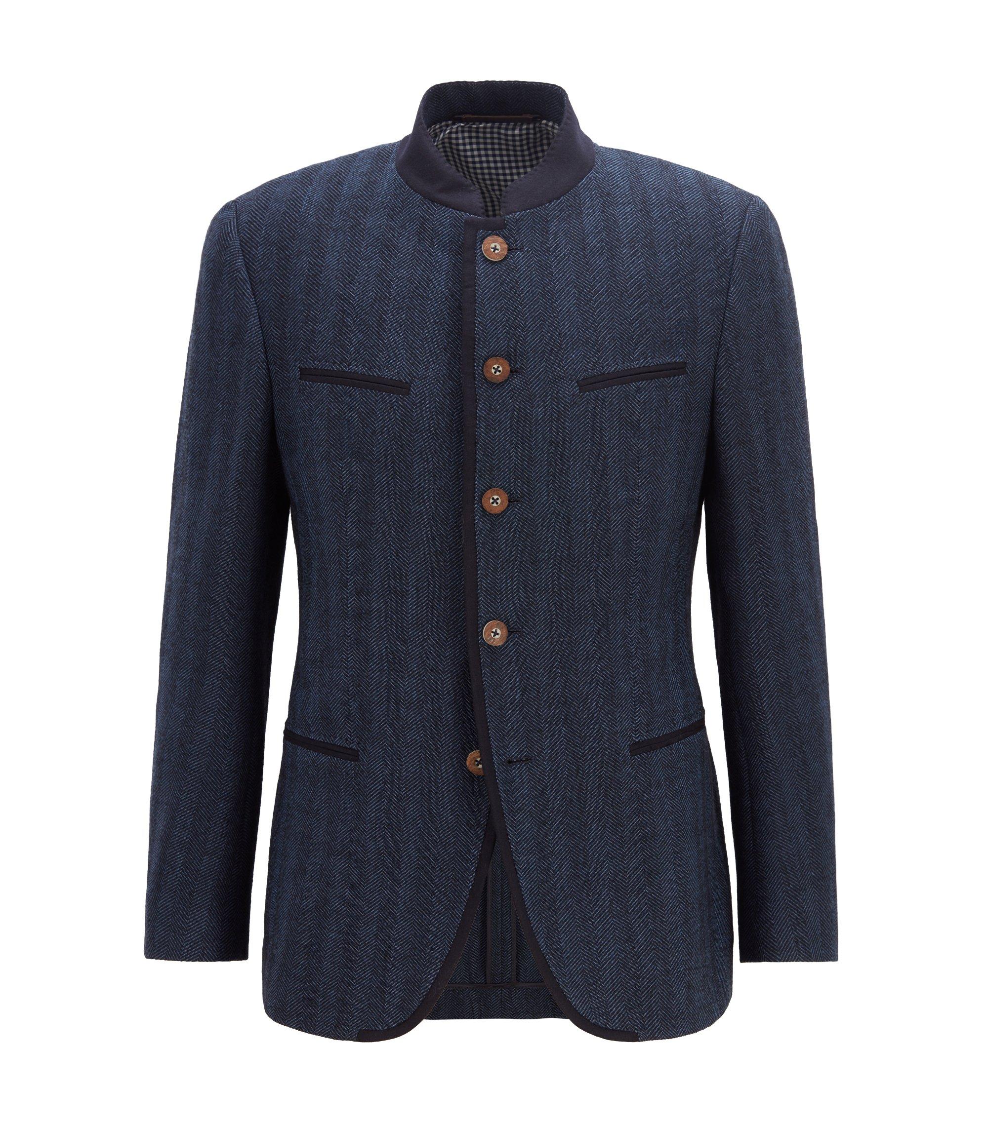 Blazer inspiré du costume traditionnel de l'Oktoberfest, en laine vierge mélangée, Bleu