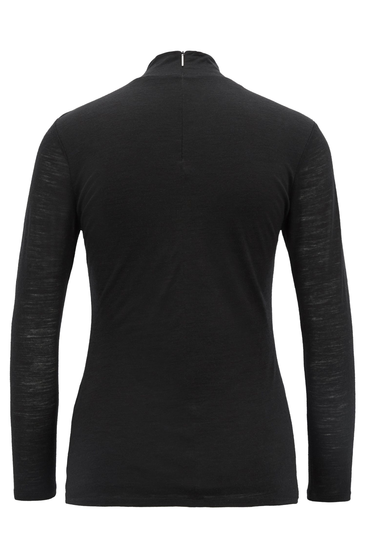 Turtleneck top in lightweight fabric with lined body, Black