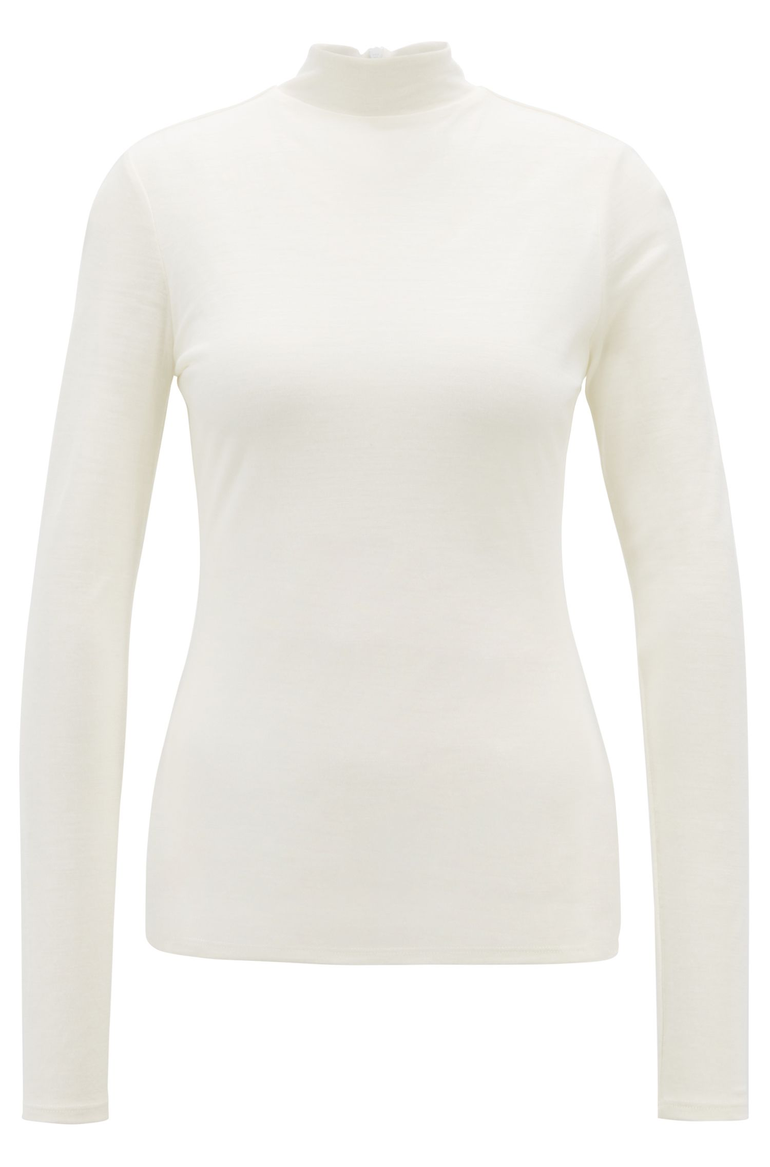 Turtleneck top in lightweight fabric with lined body
