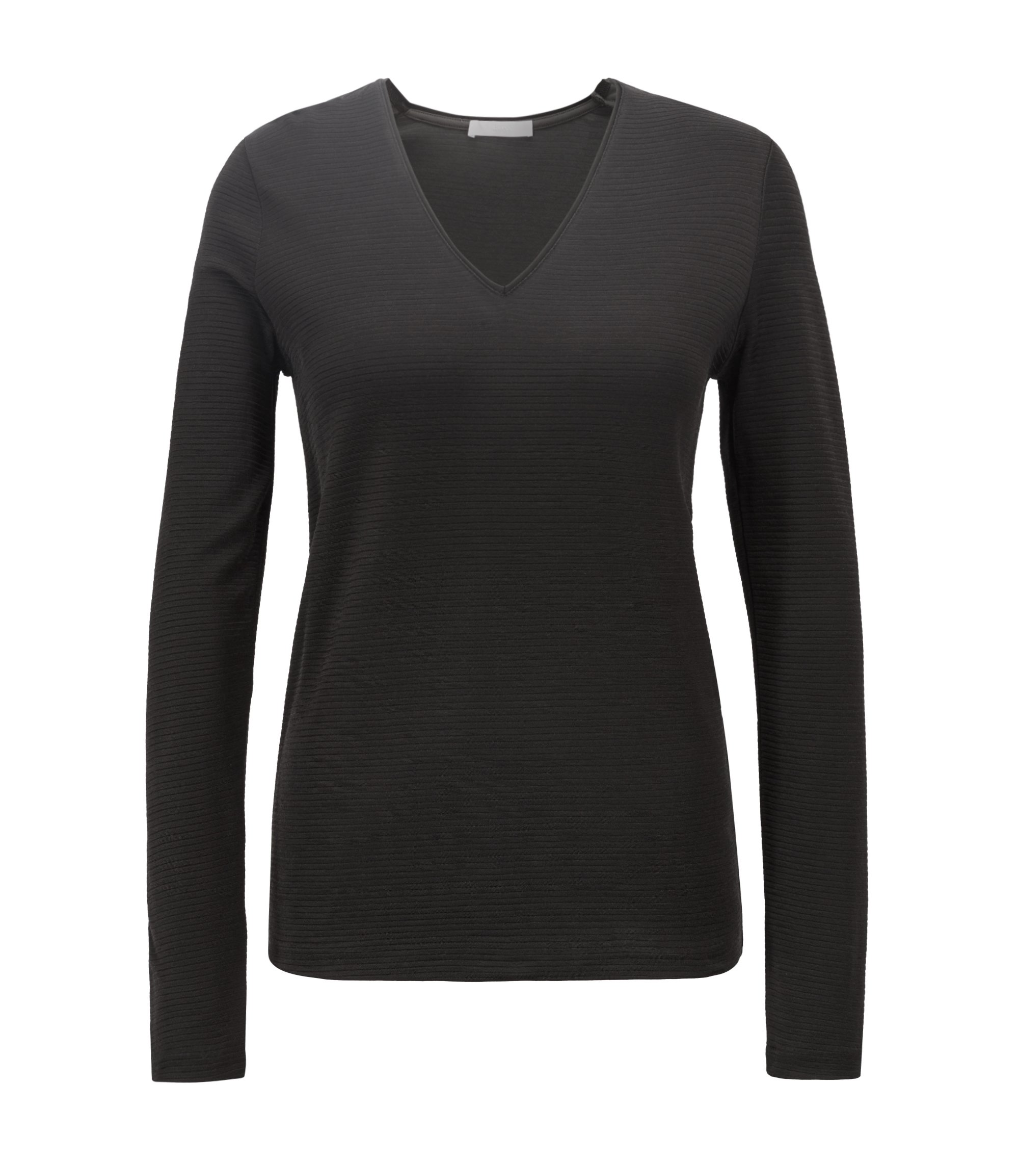 V-neck top in a ribbed cotton blend, Black