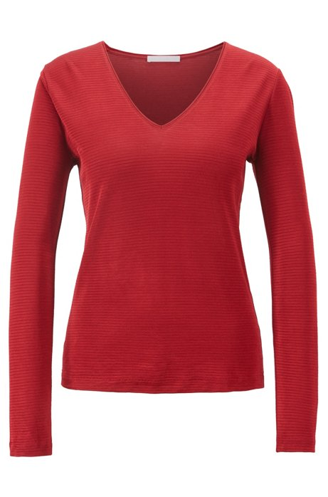 V-neck top in a ribbed cotton blend, Dark Red