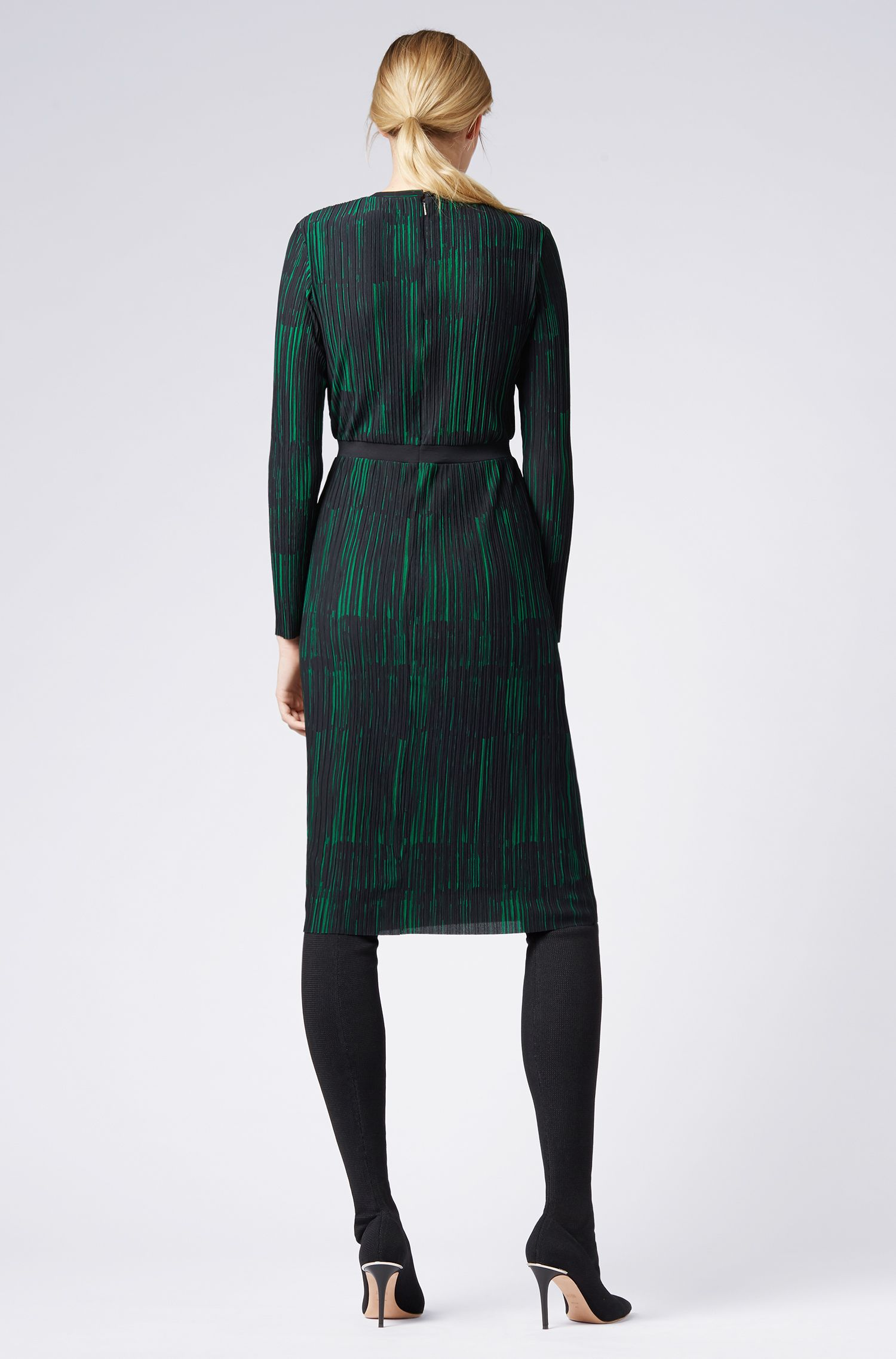 Slim-fit dress with collection print and plissé detail, Patterned