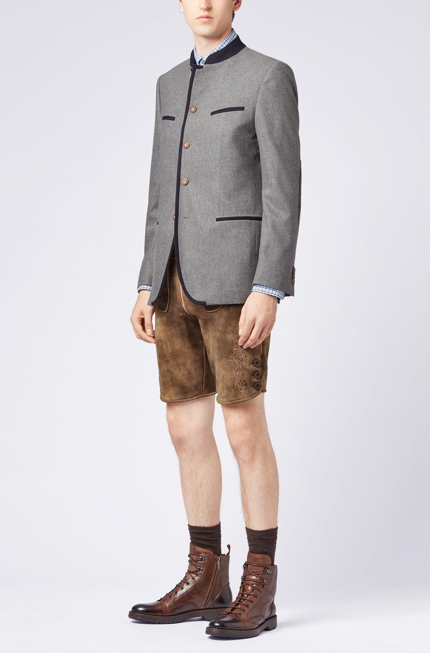 Blazer inspiré du costume traditionnel de l'Oktoberfest, en laine vierge mélangée, Gris