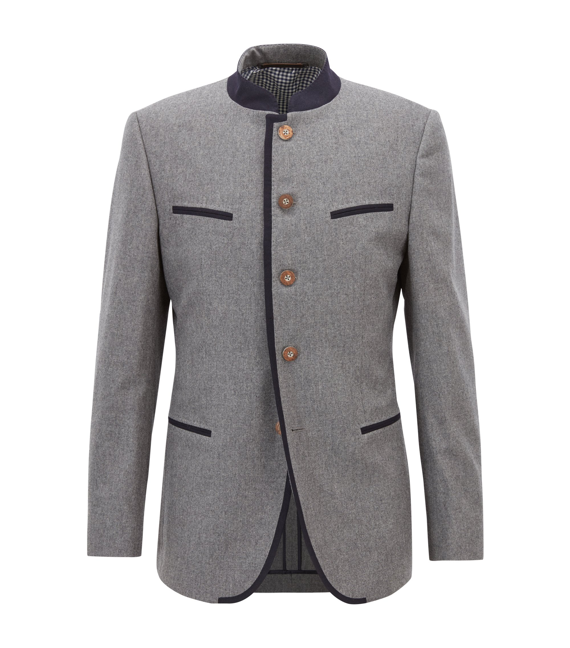 Oktoberfest-style blazer in a virgin-wool blend, Grey
