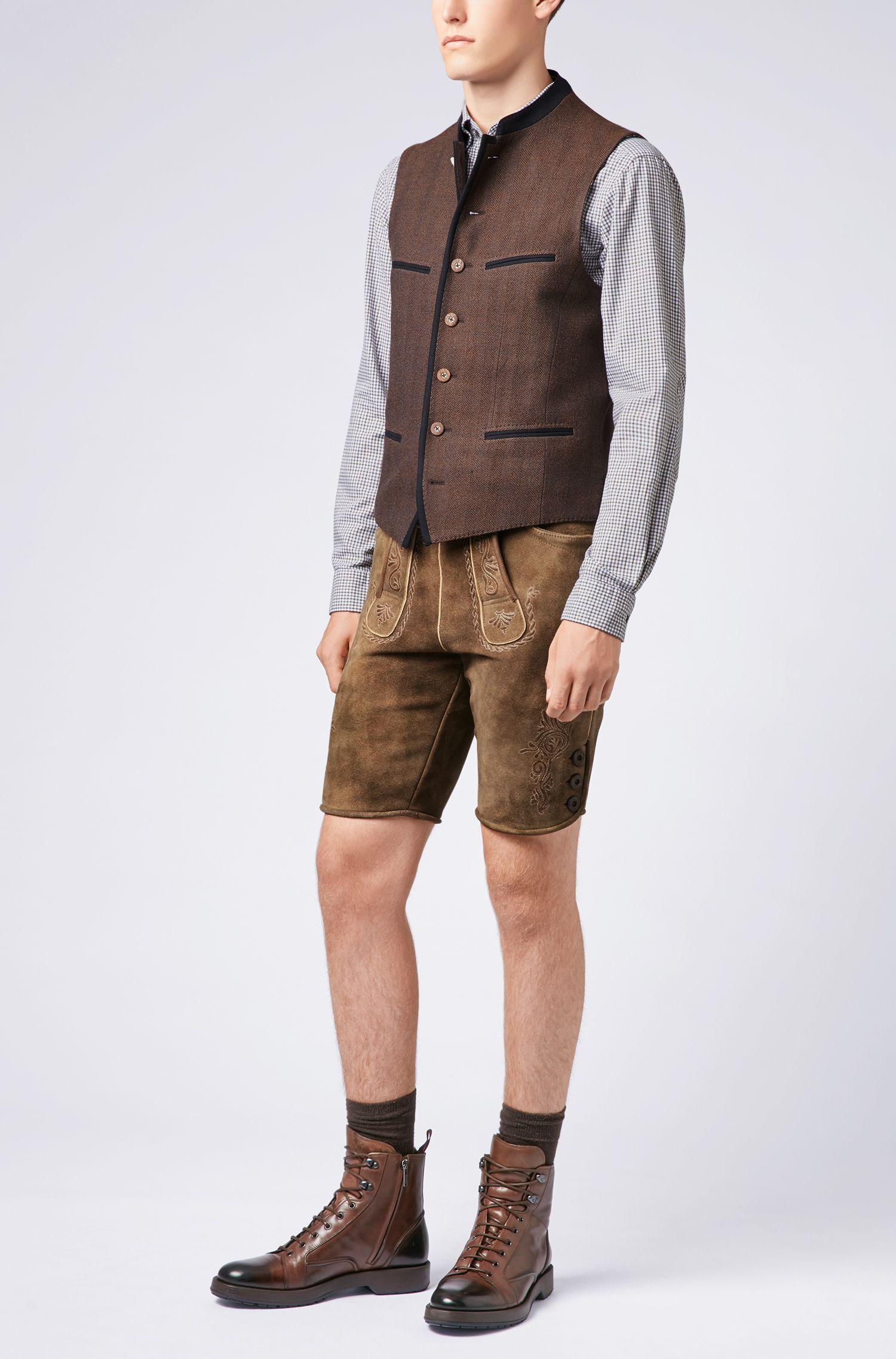 Chaleco tradicional bávaro en mezcla de lana, Marrón oscuro