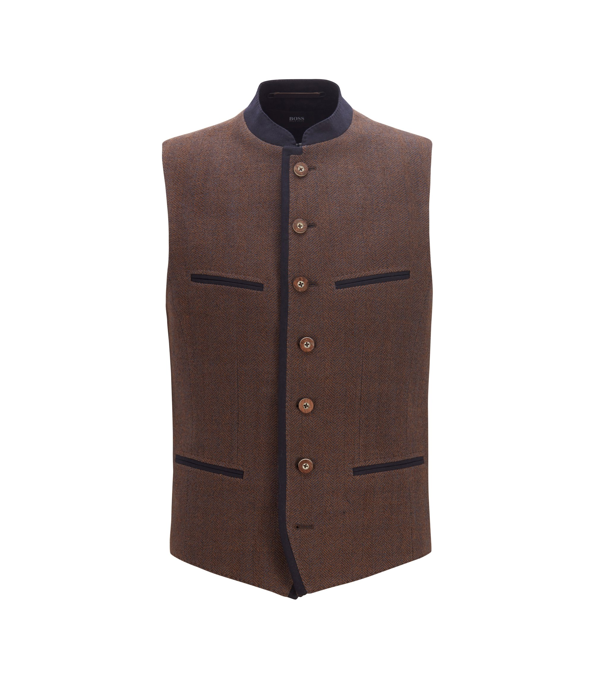 Traditional Bavarian waistcoat in a wool blend, Dark Brown