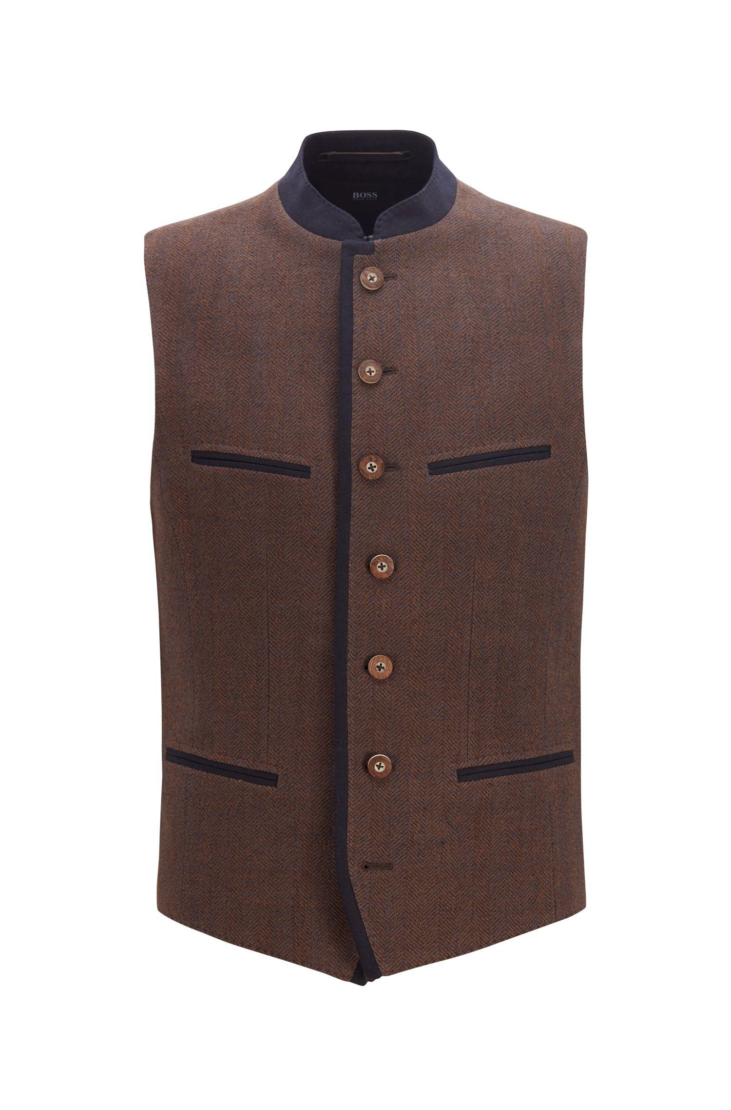Traditional Bavarian waistcoat in a wool blend, Dark Brown