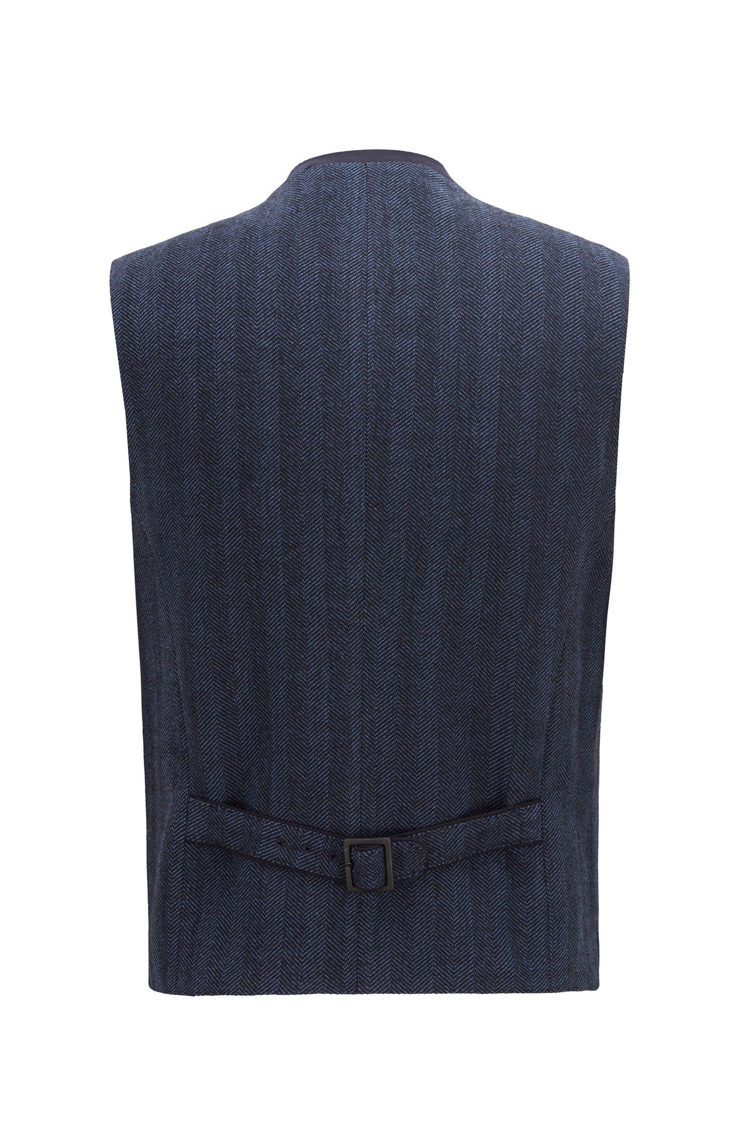 Gilet bavarois traditionnel en laine mélangée, Bleu vif