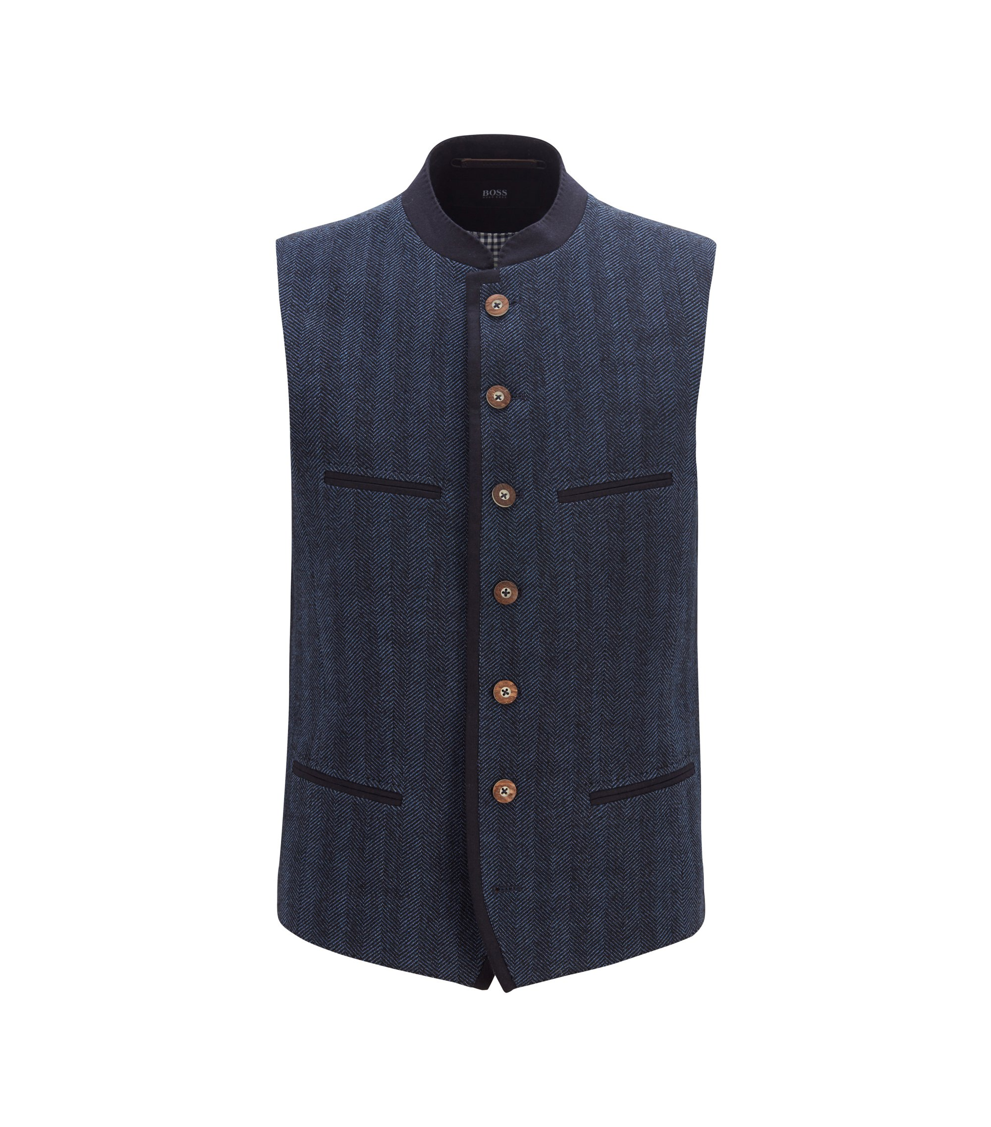 Traditional Bavarian waistcoat in a wool blend, Open Blue