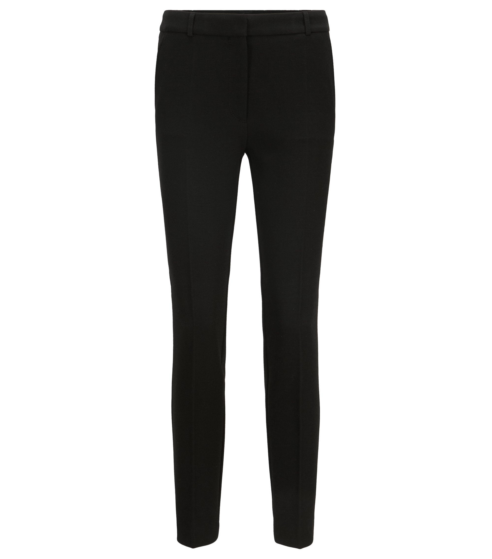 Regular-Fit Hose aus softem Stretch-Krepp in Cropped-Länge, Schwarz