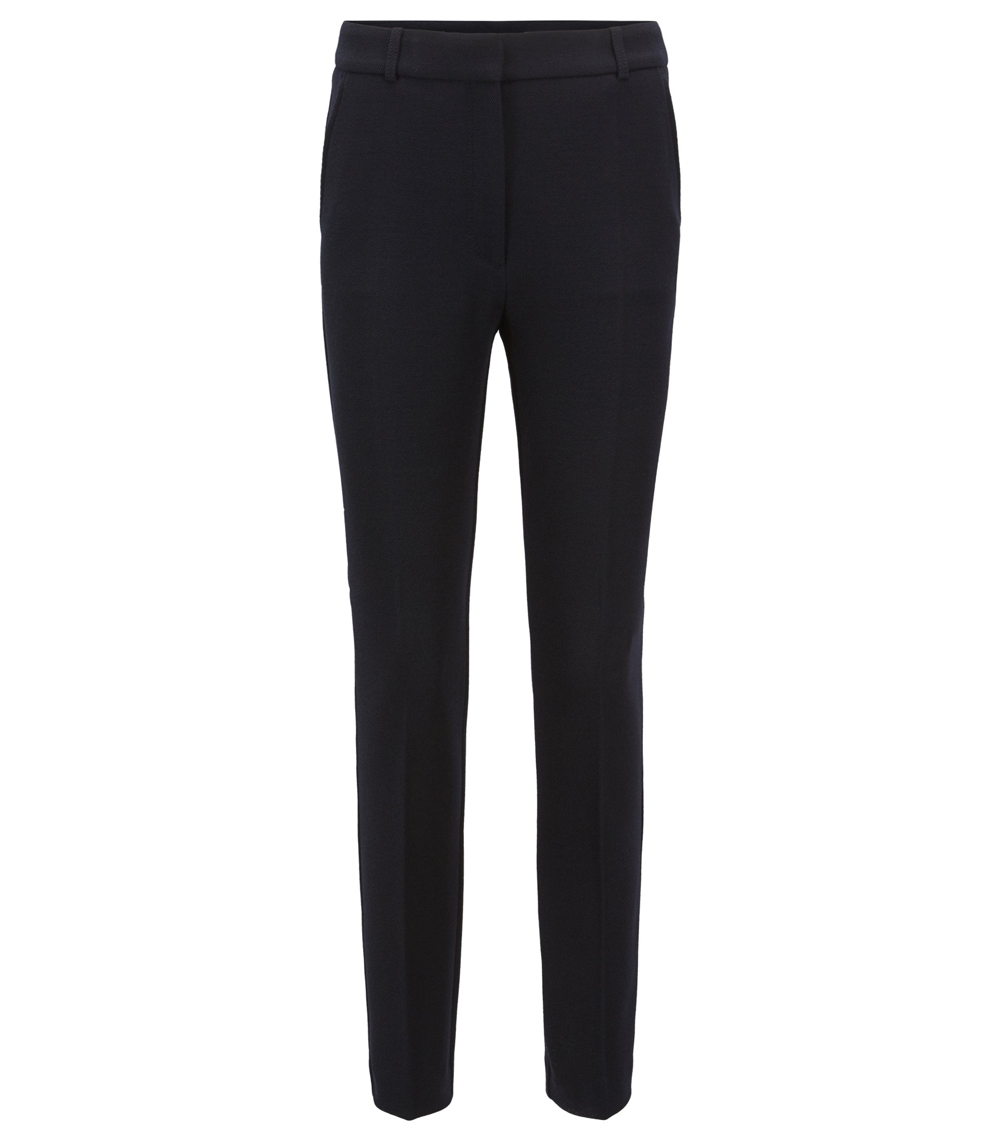 Regular-Fit Hose aus softem Stretch-Krepp in Cropped-Länge, Dunkelblau