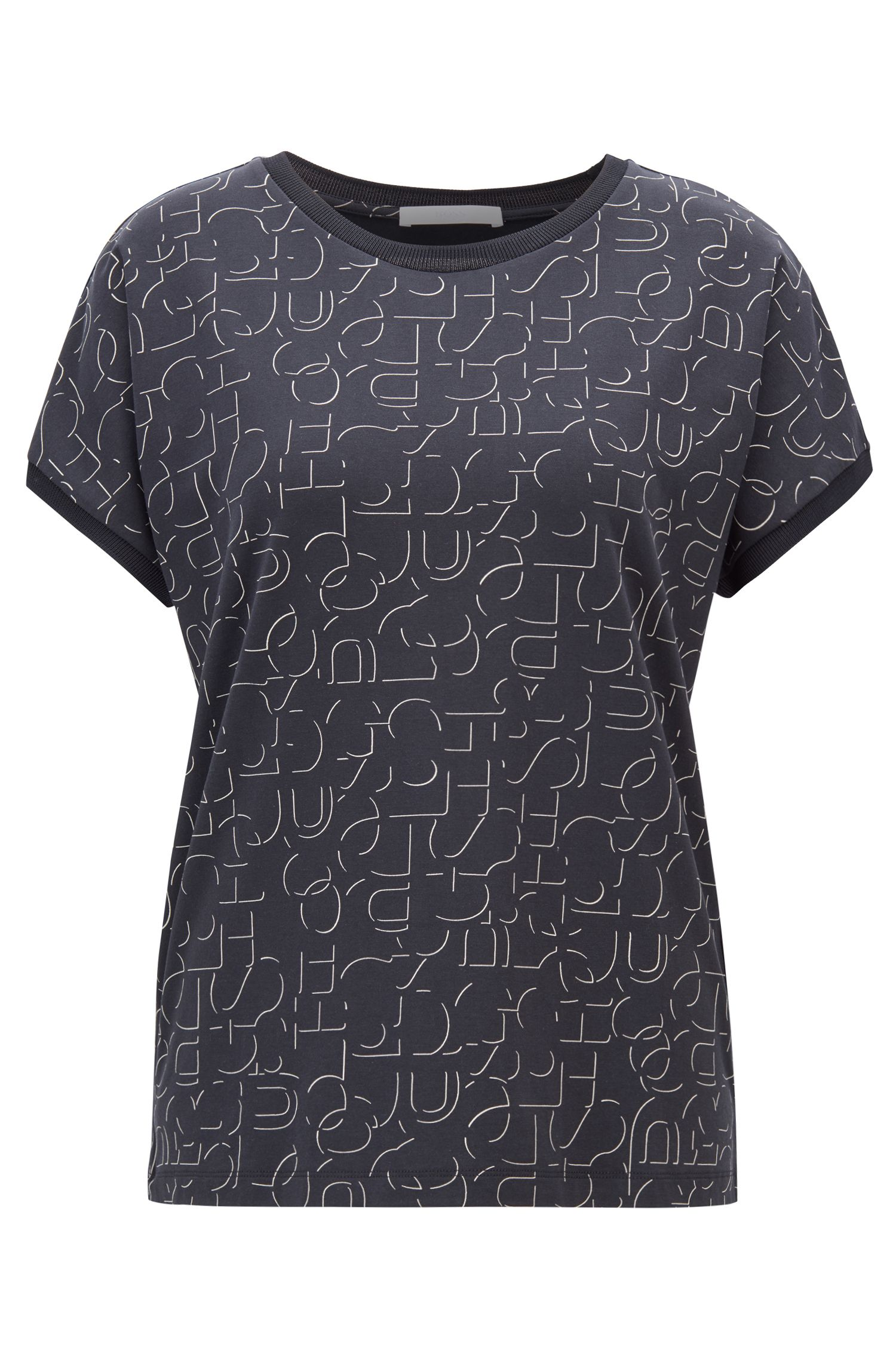Short-sleeved top in stretch jersey with abstract logo, Patterned