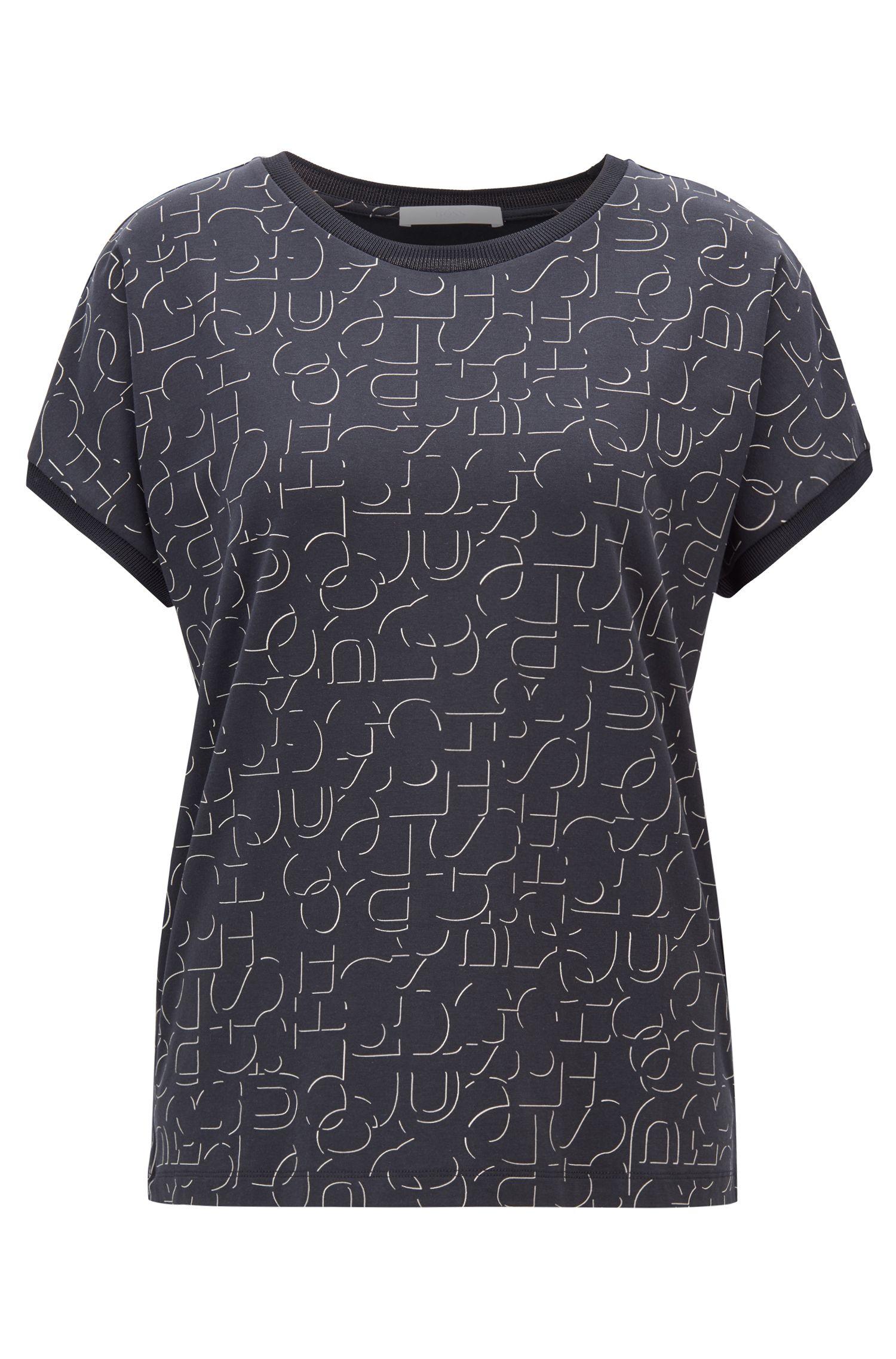 Kurzarm-Top aus Stretch-Jersey mit abstraktem Logo-Dessin, Gemustert