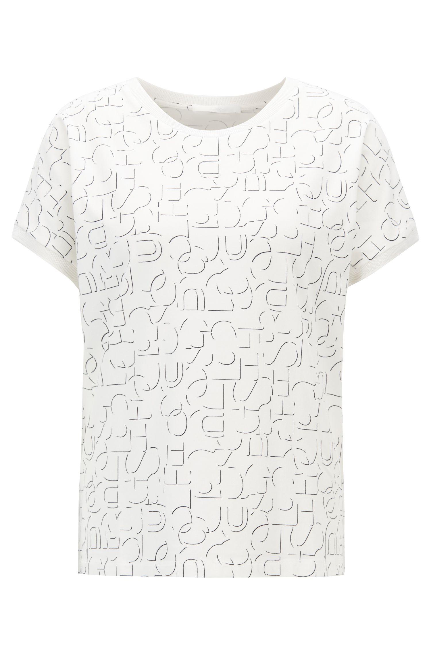 Top à manches courtes en jersey stretch avec logo abstrait, Fantaisie
