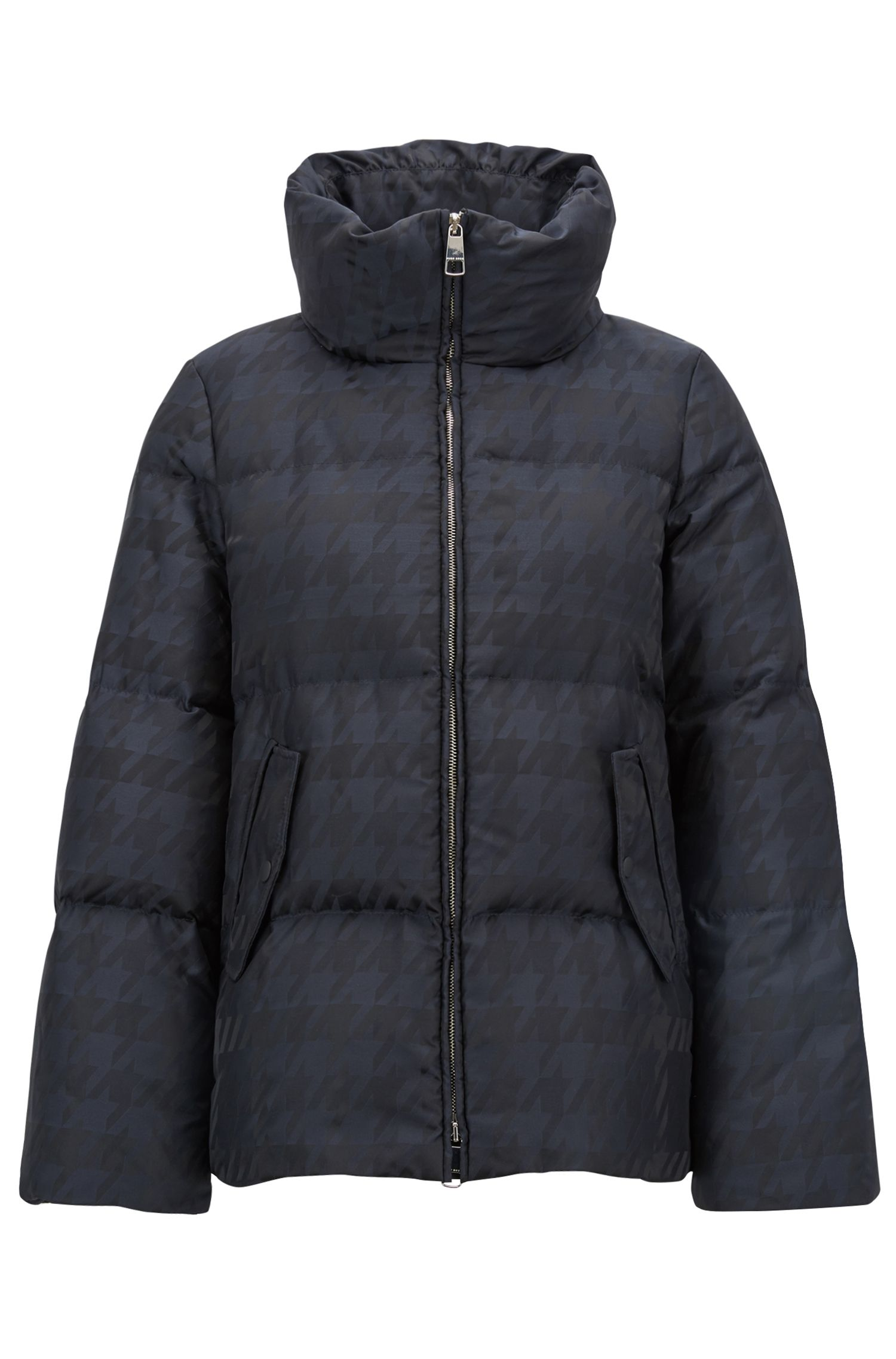 Down jacket in water-repellent houndstooth jacquard, Patterned