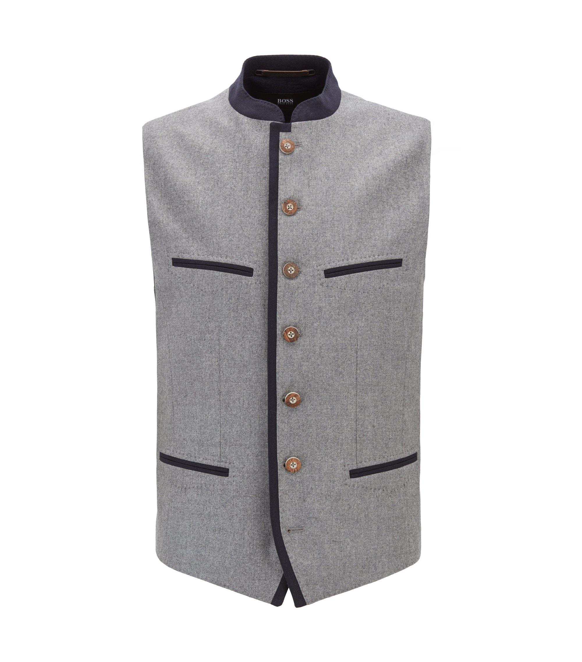 Gilet en laine vierge mélangée, inspiré du style vestimentaire de l'Oktoberfest, Gris