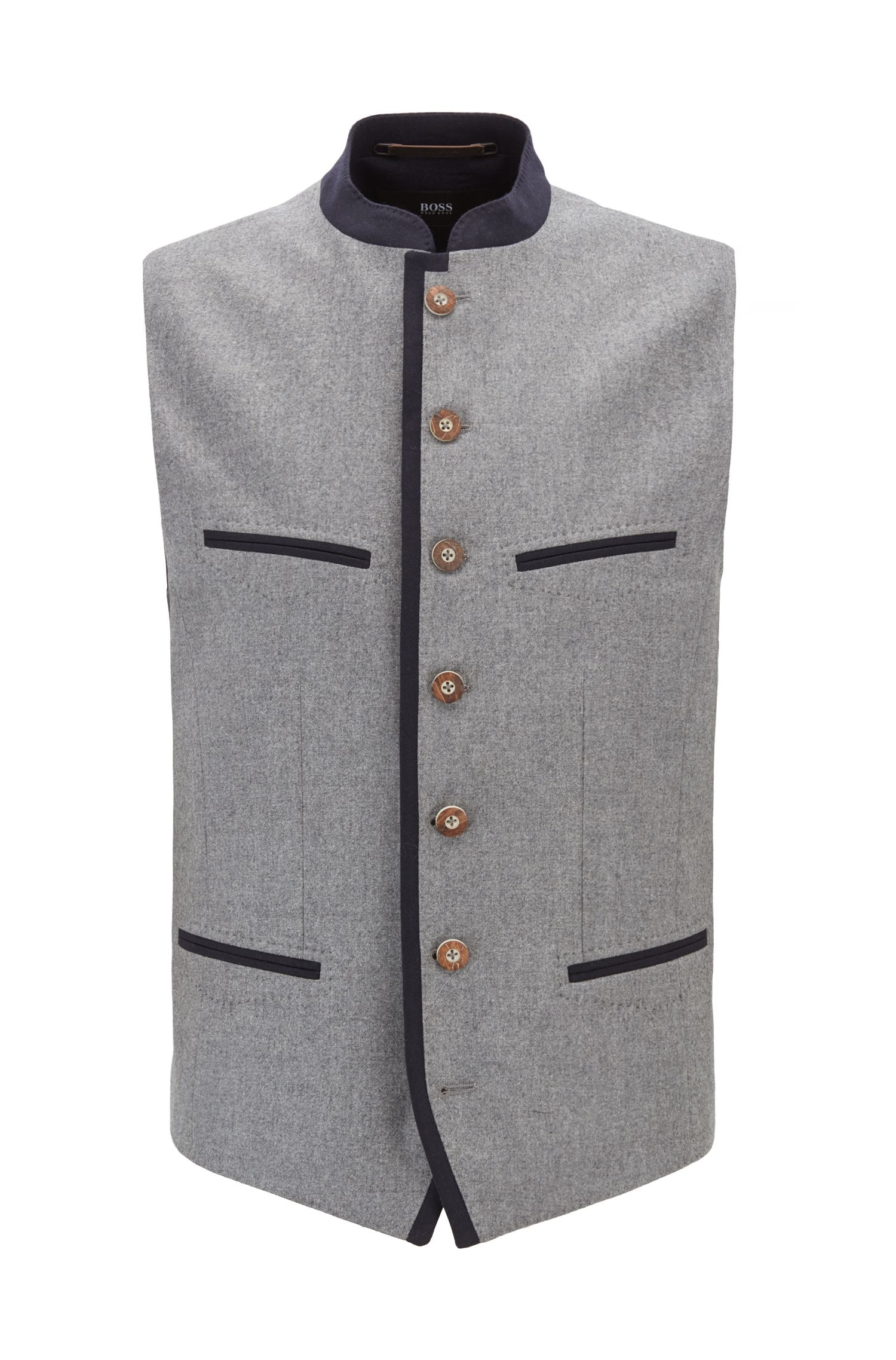 Oktoberfest-style waistcoat in a virgin-wool blend, Grey