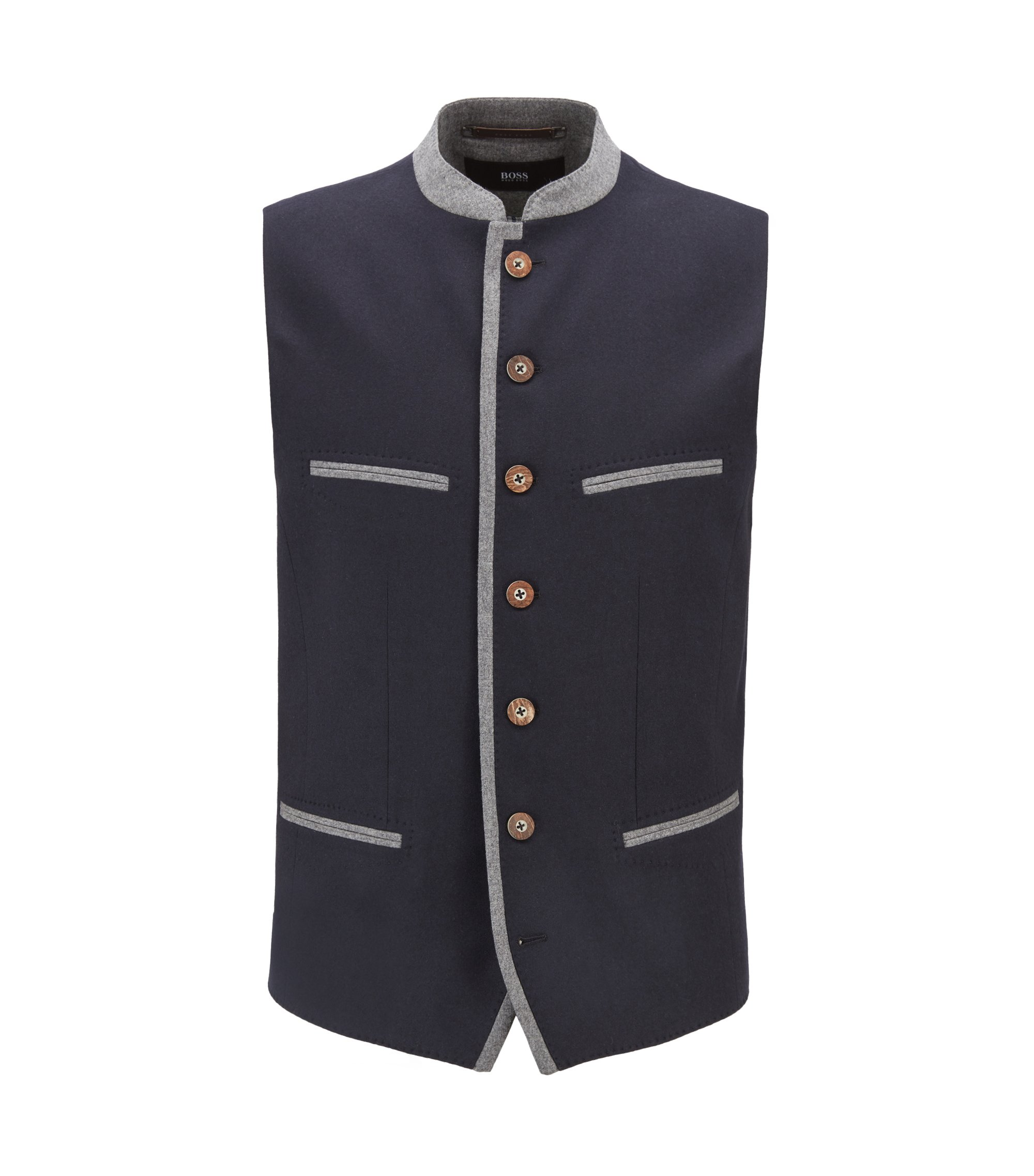 Oktoberfest-style waistcoat in a virgin-wool blend, Dark Blue