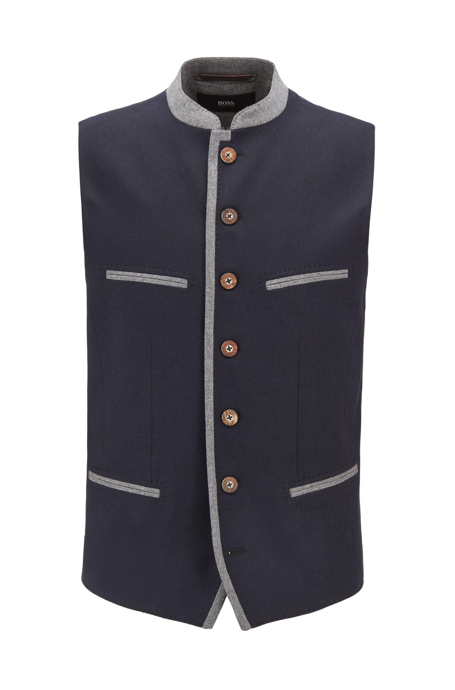 Oktoberfest-style waistcoat in a virgin-wool blend, Dark Blue