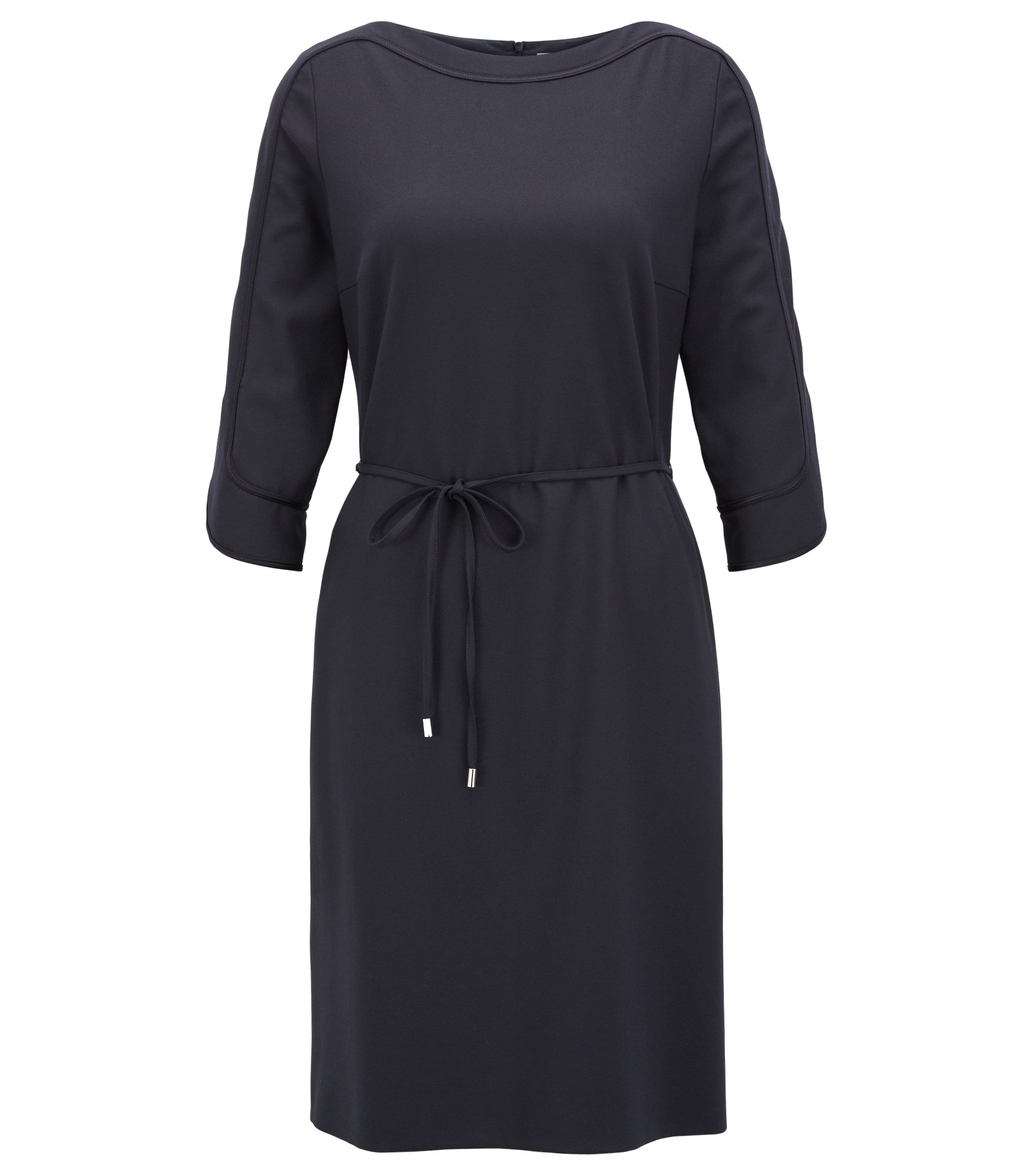 Wide-neck dress in stretch crepe, Dark Blue