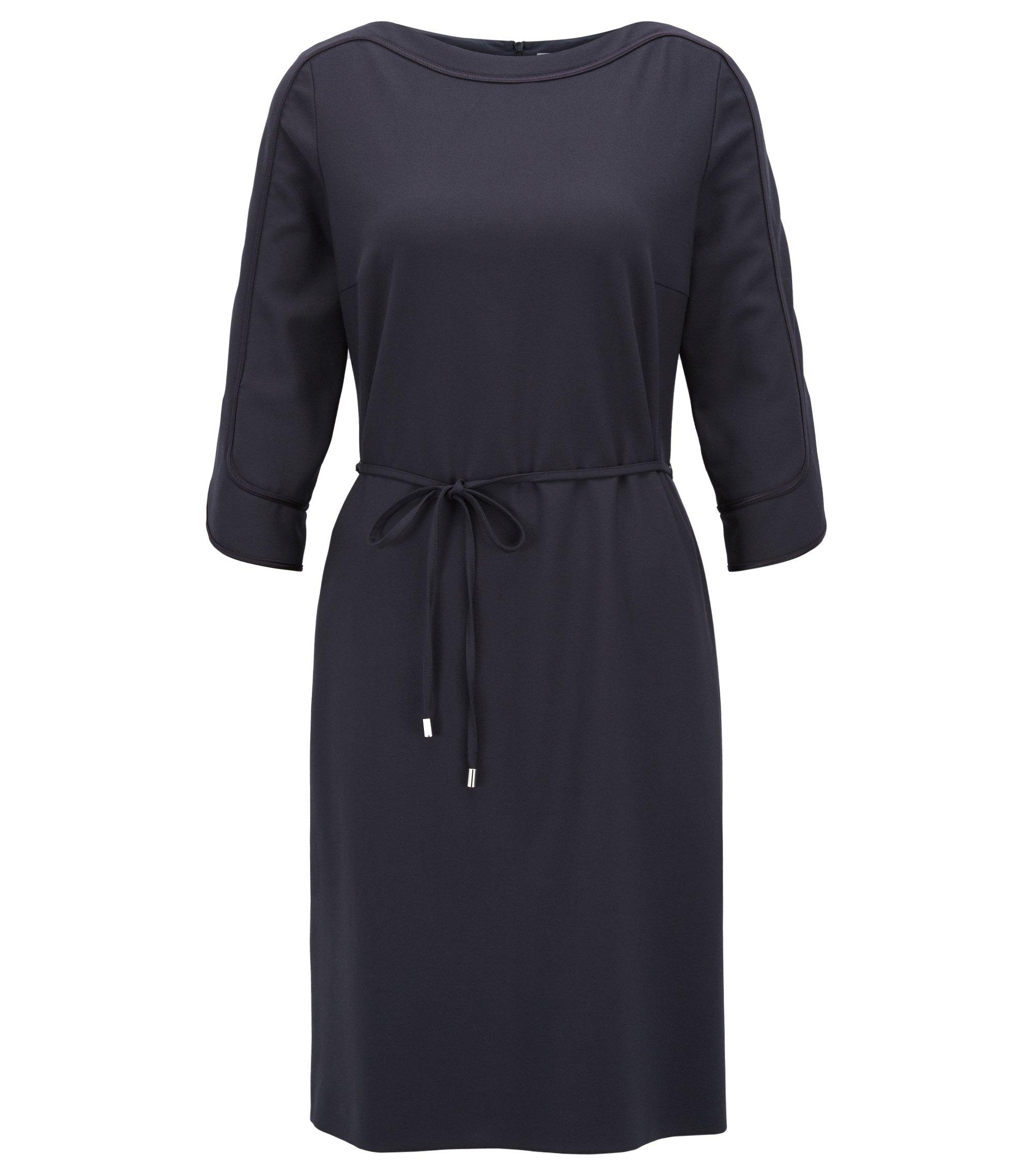 Kleid aus Stretch-Krepp mit weitem Ausschnitt, Dunkelblau