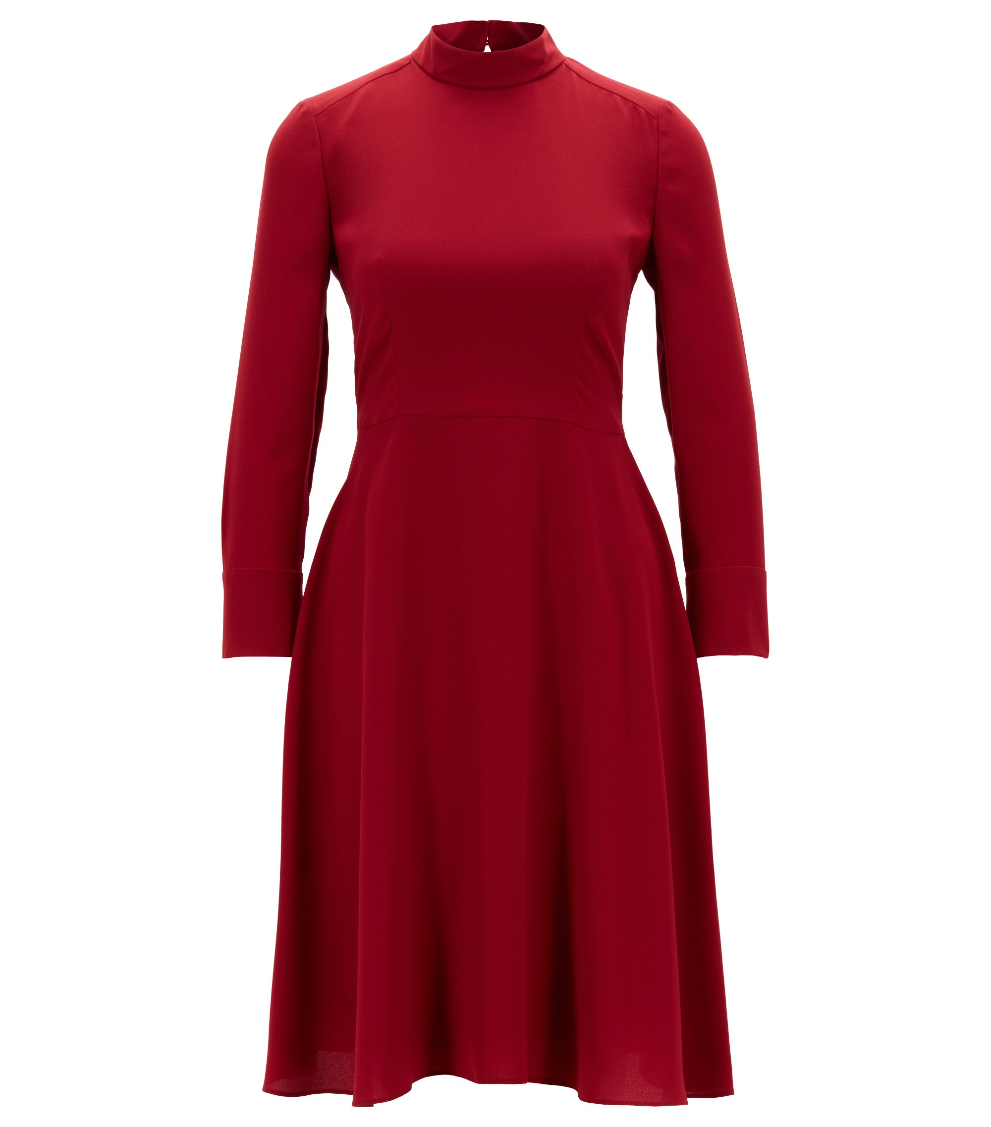 High-neck dress in fluid crepe, Dark Red