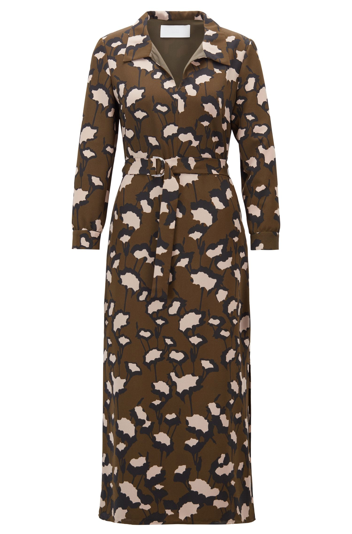 Belted dress in Italian floral-print crepe, Patterned