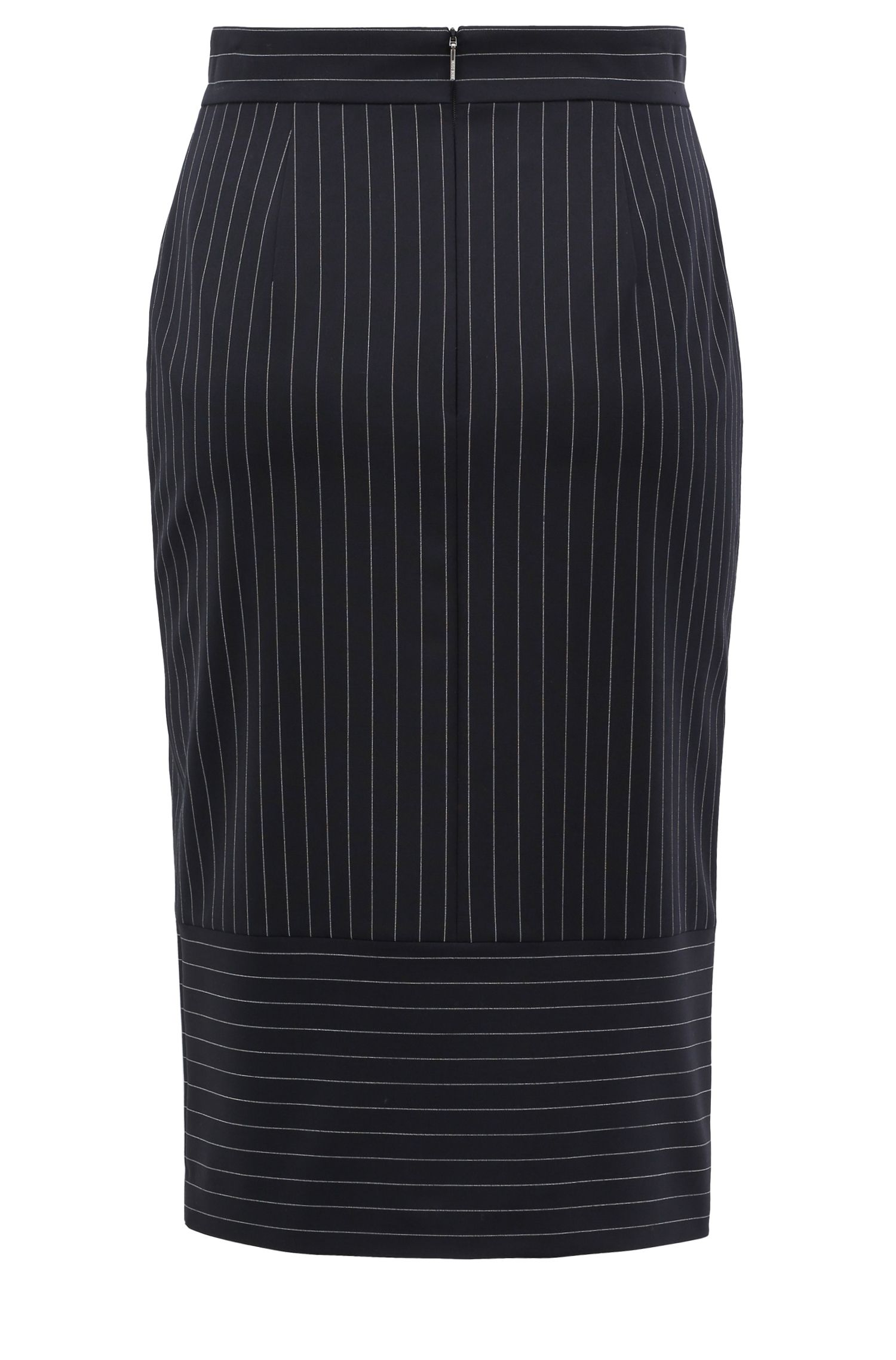 Pinstripe pencil skirt with turned details, Patterned