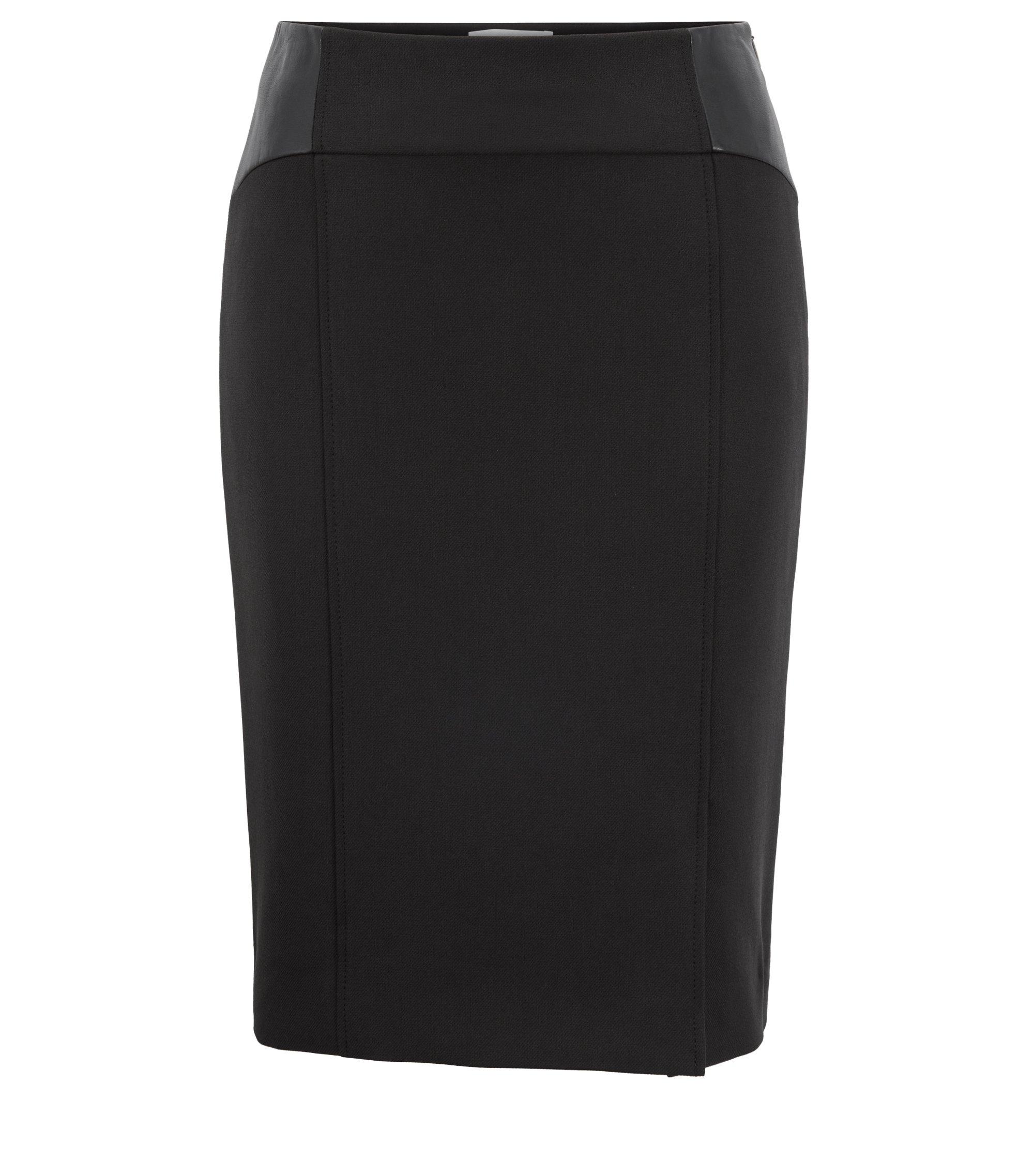 Regular-fit pencil skirt in stretch crepe, Black