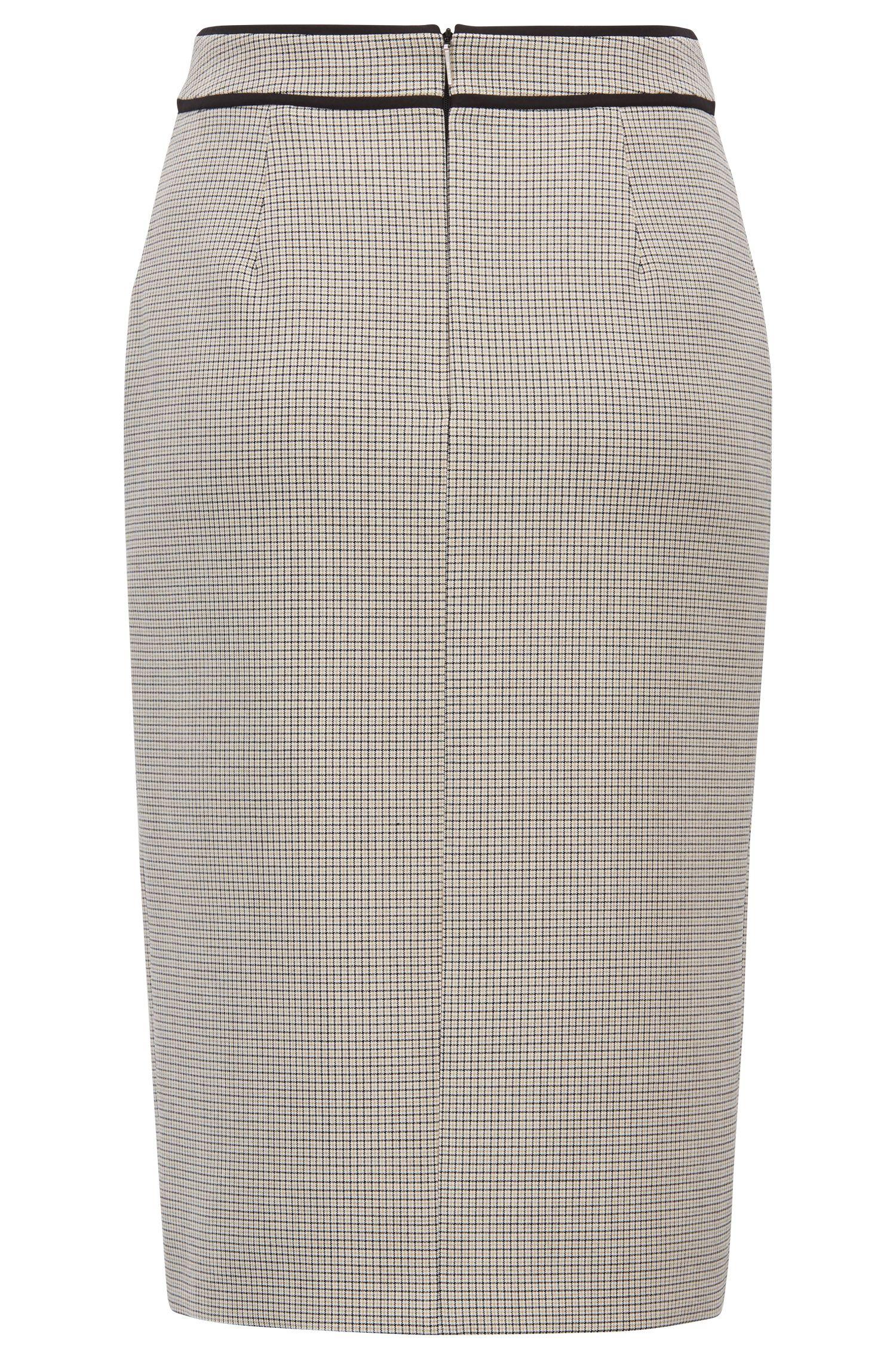 Jupe crayon en tissu stretch à carreaux avec fermeture éclair sur le devant