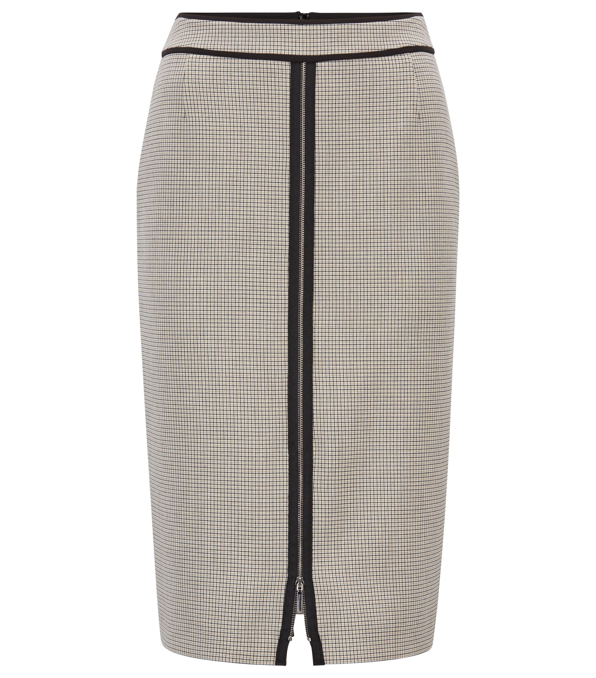 Pencil skirt in checked stretch fabric with front zip, Patterned