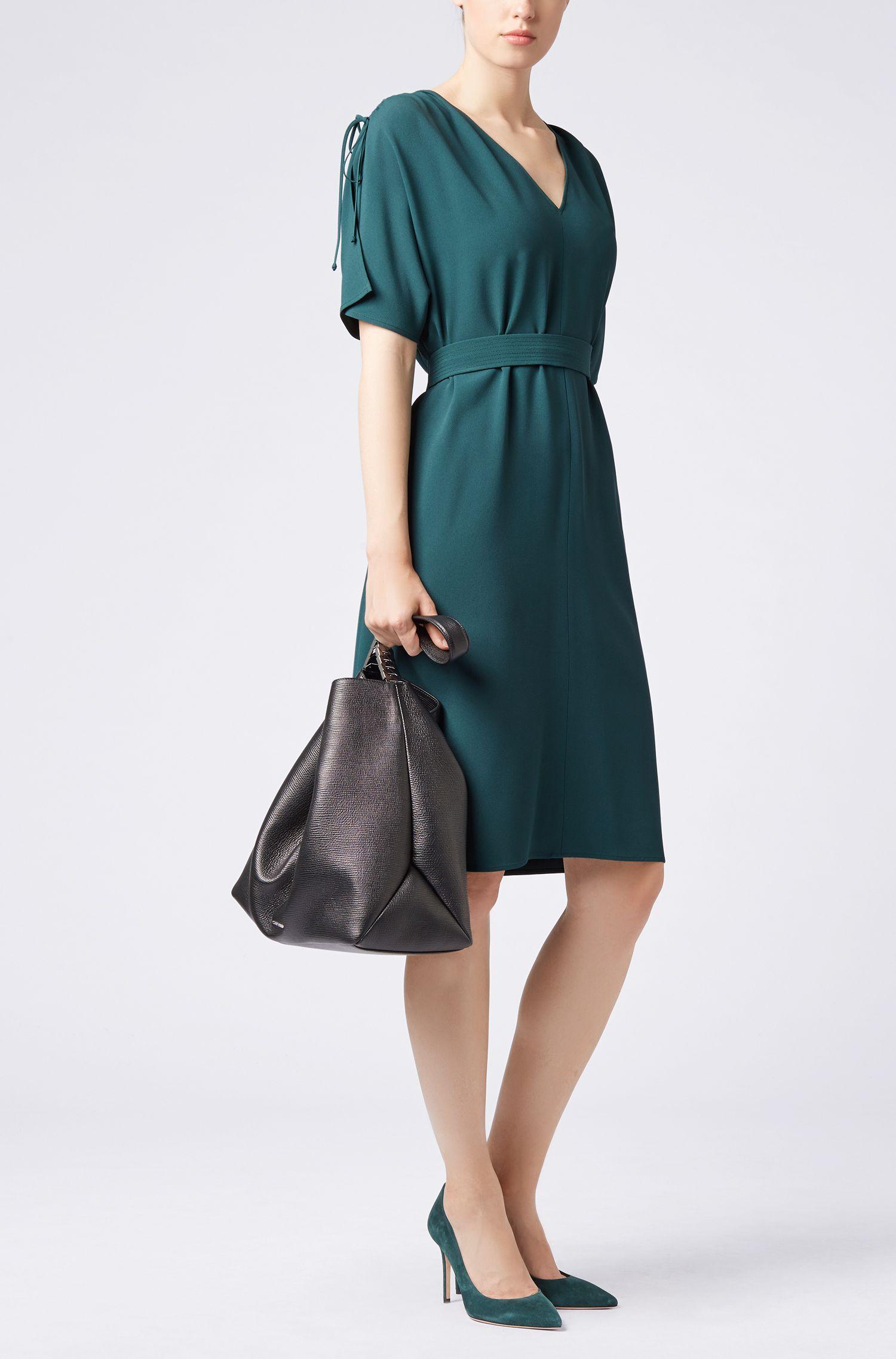 V-neck midi dress in satin-back crepe