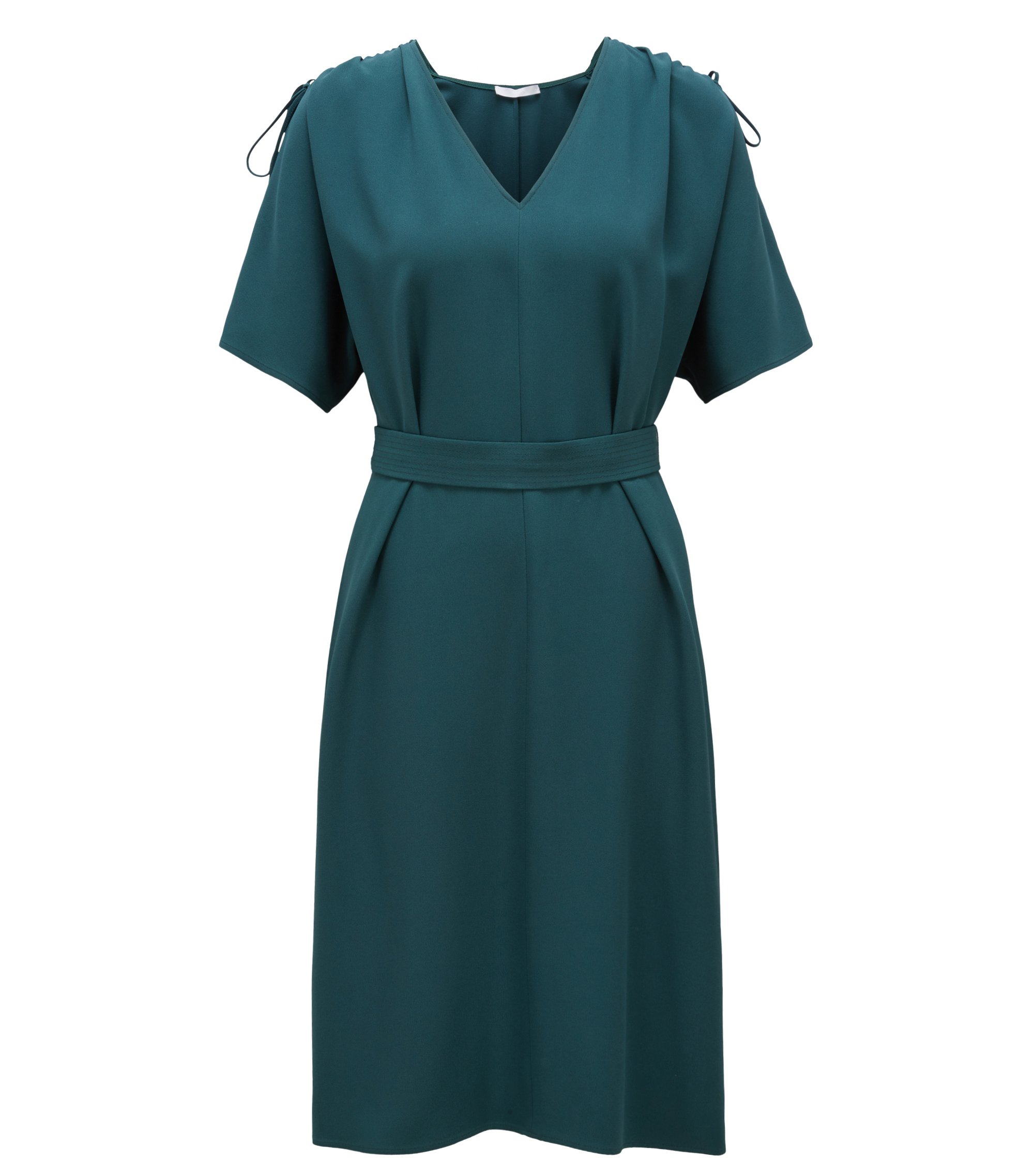 V-neck midi dress in satin-back crepe, Open Green