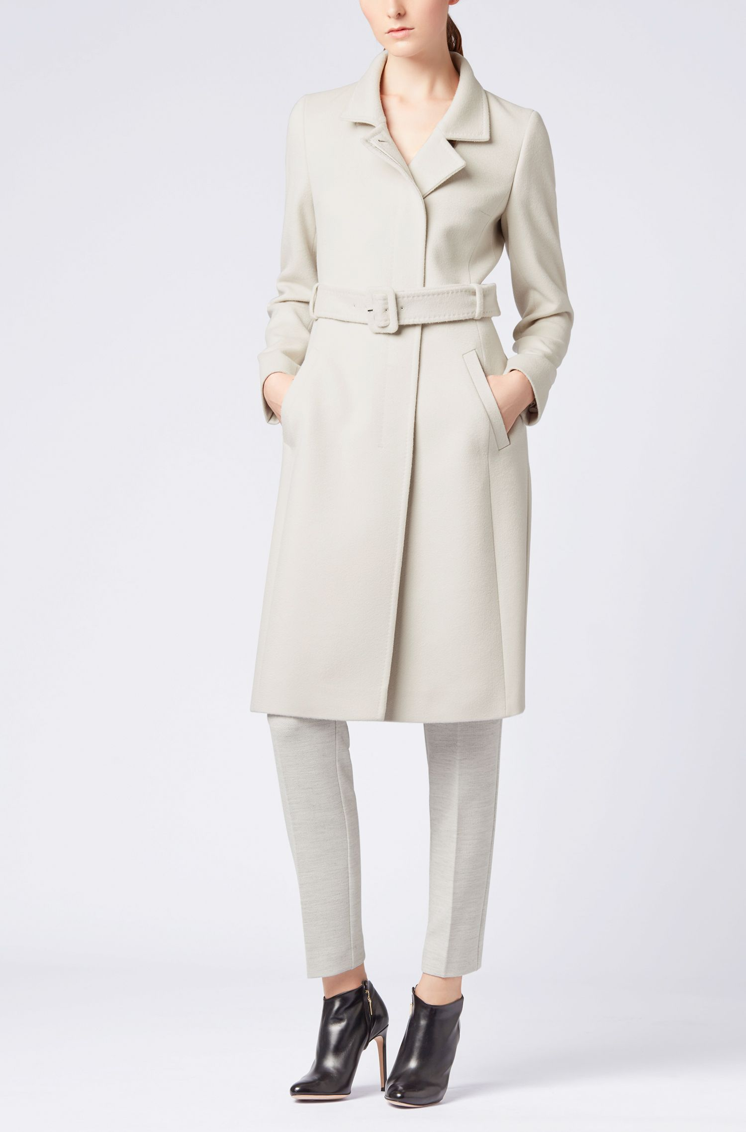 Belted coat in Italian virgin wool with adaptable collar