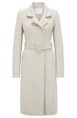 f4e7e6e0c9bd1e Cappotto in lana vergine realizzata in Italia con cintura e colletto  regolabile, Beige chiaro