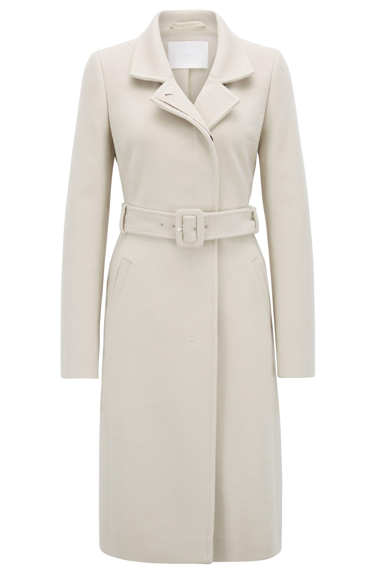 Manteau en laine vierge italienne, à ceinture et col variable, Beige clair