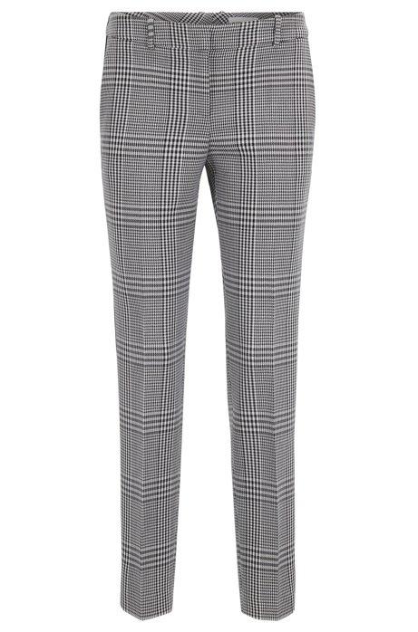 Pantalon fuselé en tissu prince-de-galles avec rubans à rayures, Fantaisie
