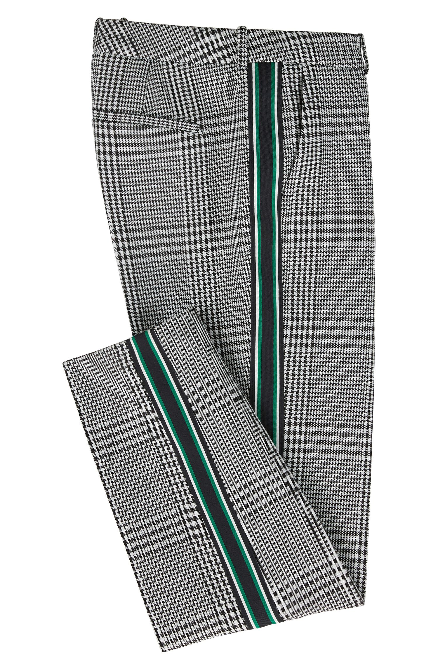 Pantaloni con gamba a cono in tessuto principe di Galles con nastro a righe, A disegni