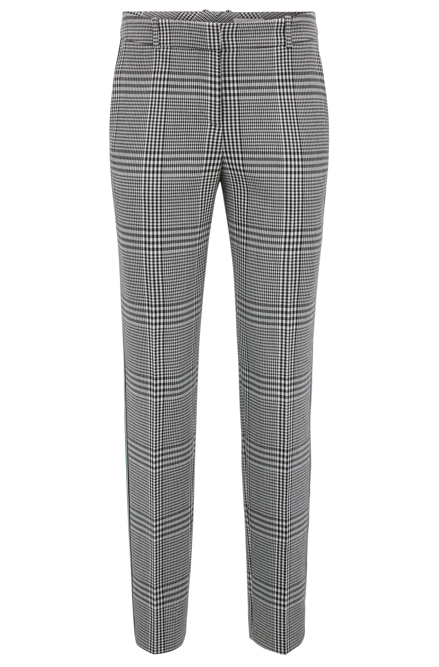 Tapered trousers in Glen-check fabric with striped taping
