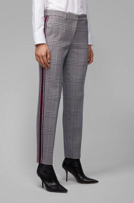 Tapered trousers in Glen-check fabric with striped taping, Patterned