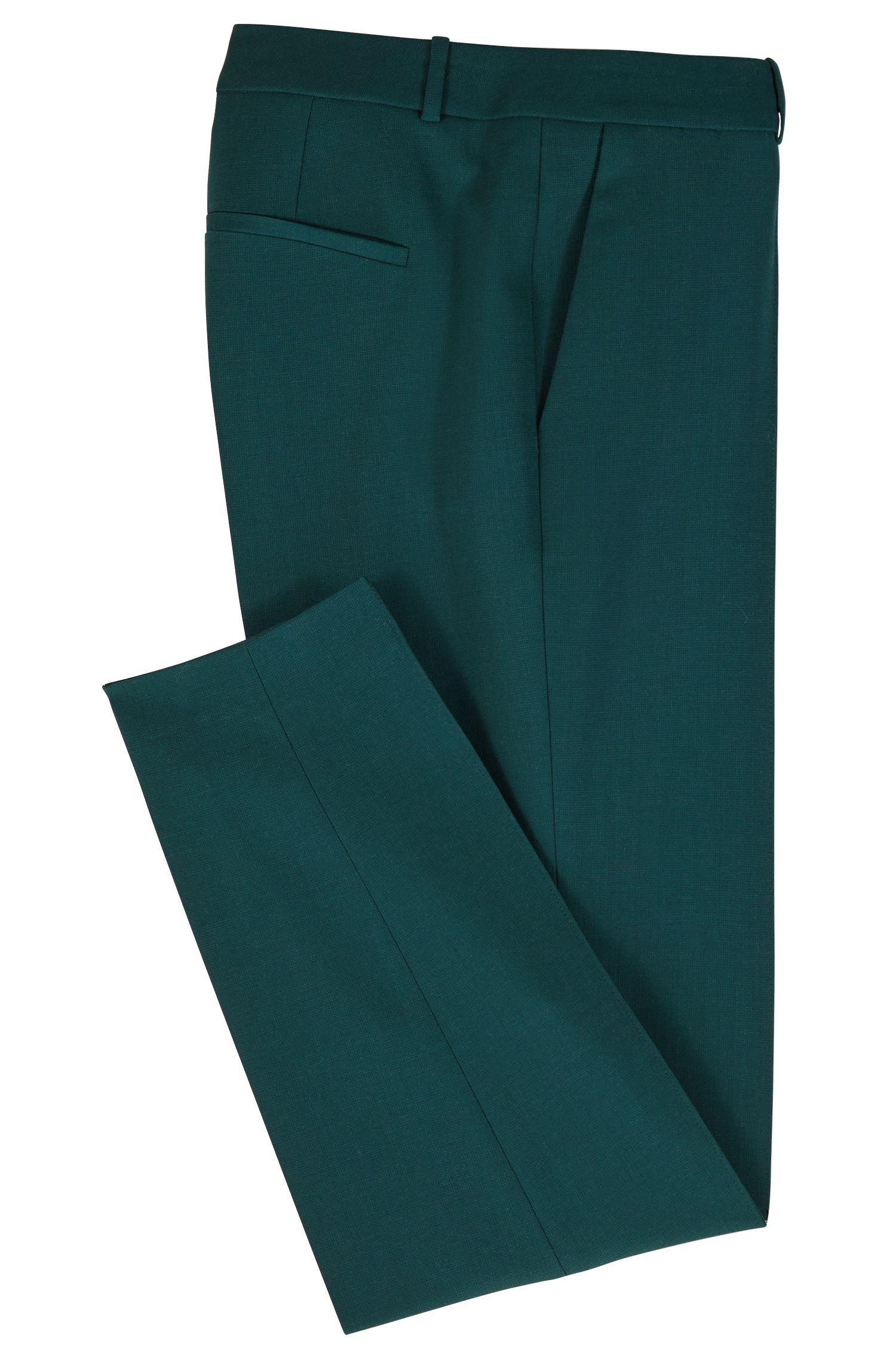 Broek met scherpe vouwen, van scheerwol met stretch, Groen