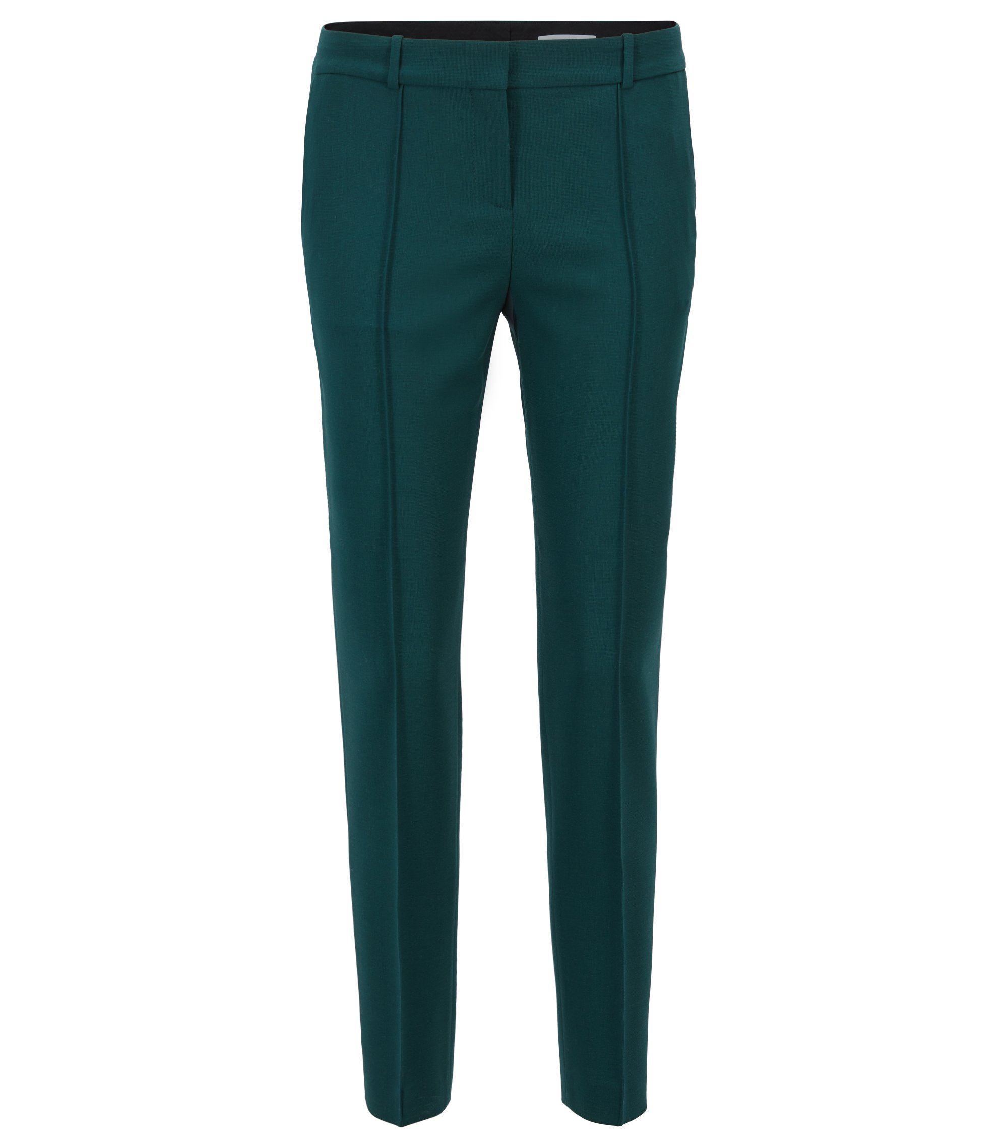 Pleat-front trousers in stretch virgin wool, Green