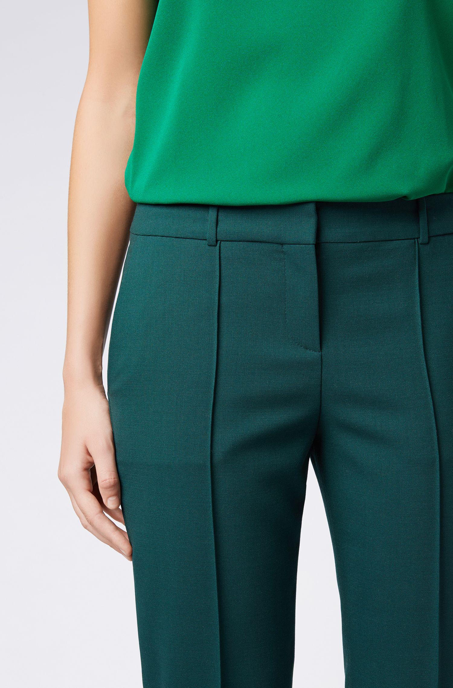 Pantalon à pinces en laine vierge stretch, Vert