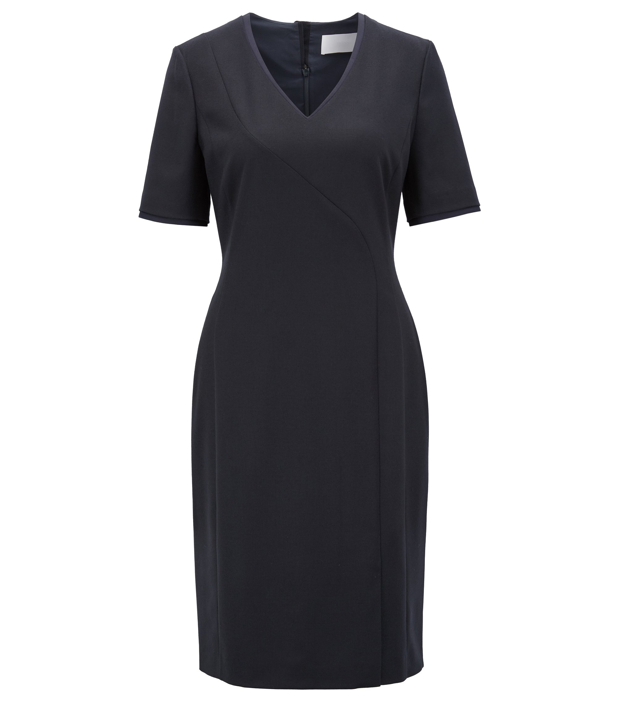 Short-sleeved dress in stretch virgin wool with V-neck, Dark Blue