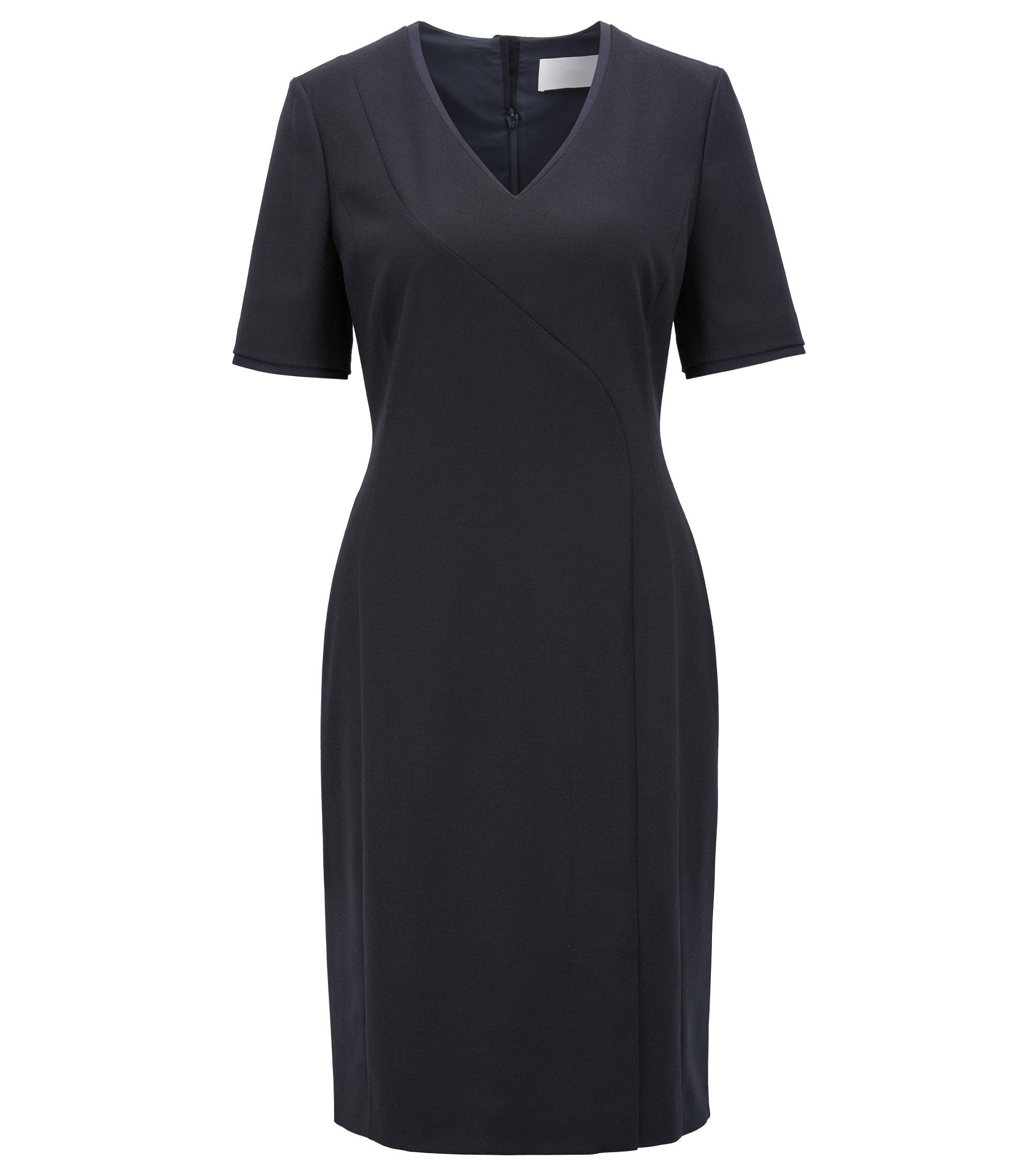 Kurzarm-Kleid aus elastischer Schurwolle mit V-Ausschnitt, Dunkelblau